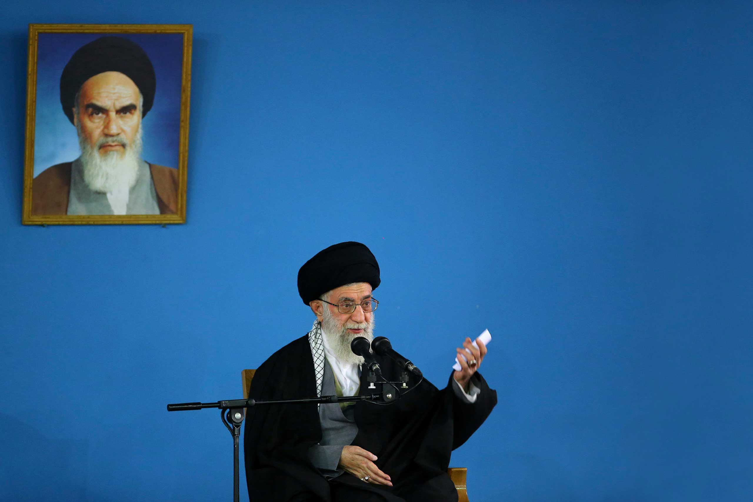 Supreme Leader Ayatollah Ali Khamenei speaks at a public gathering at his residence in Tehran,  Jan. 7, 2015.