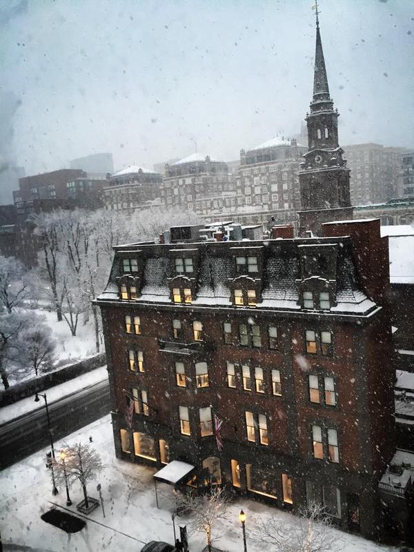 """Dave Abrams posted this photo of the snow this morning, saying """"The snow in Boston this morning looks like something out of a movie... """""""