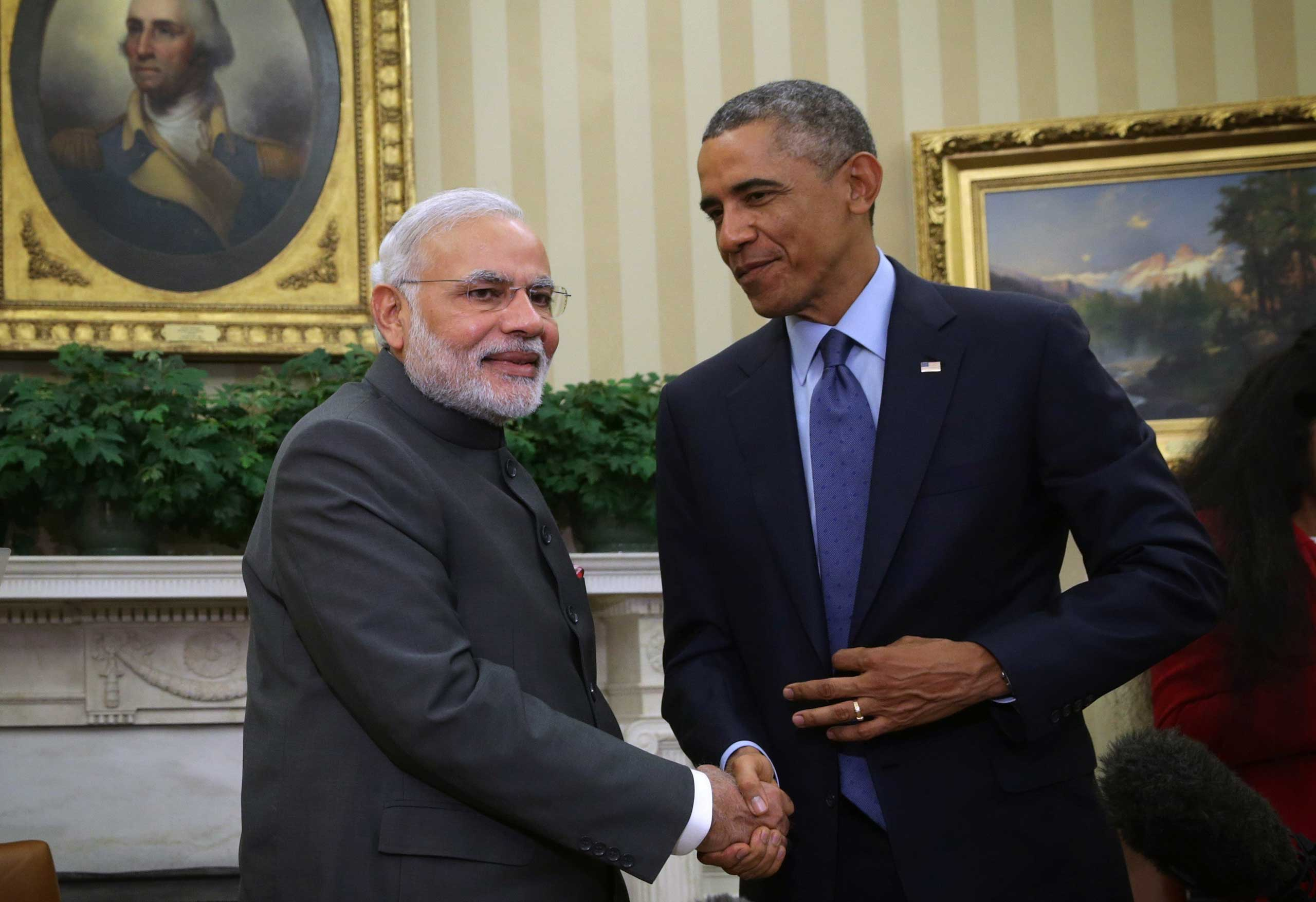 U.S. President Barack Obama meets with Indian Prime Minister Narendra Modi in the Oval Office of the White House in Washington on Sept. 30, 2014.