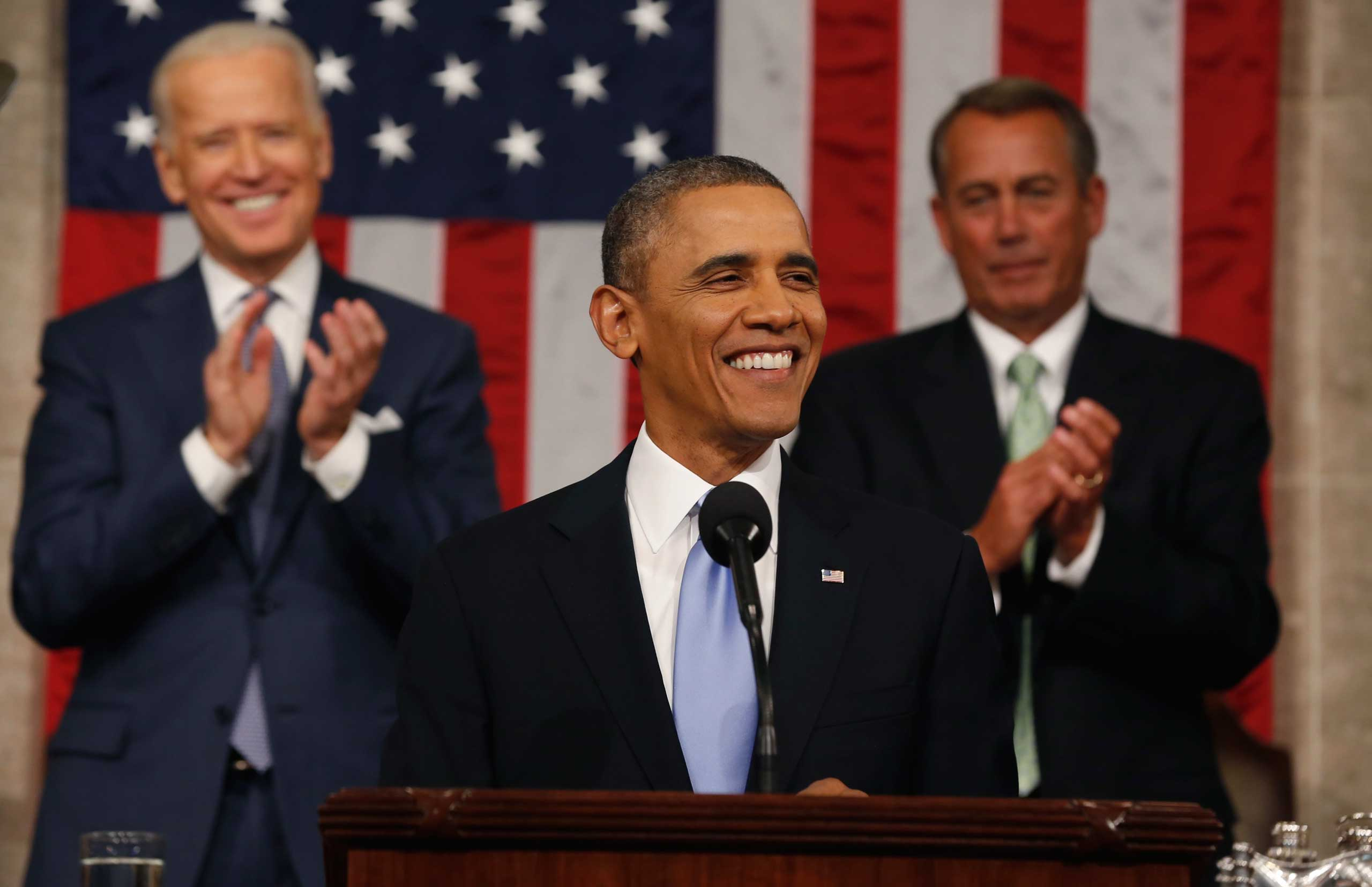 President Obama Delivers State Of The Union Address At U.S. Capitol in 2014.