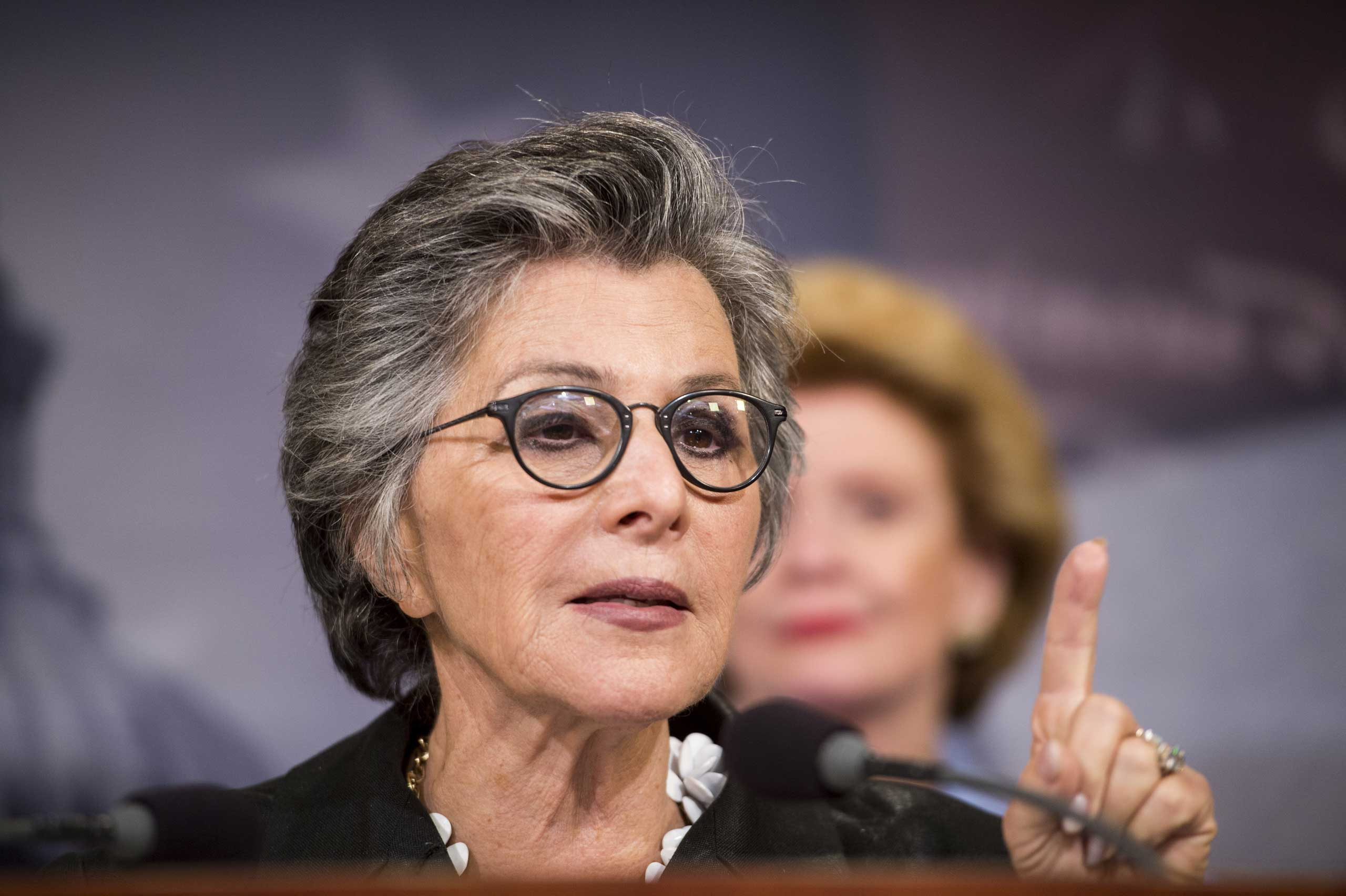 Sen. Barbara Boxer, D-Calif., speaks during the Senate Democrats' news conference after the Senate's vote on the  Paycheck Fairness Act  in Washington on Sept. 10, 2014.