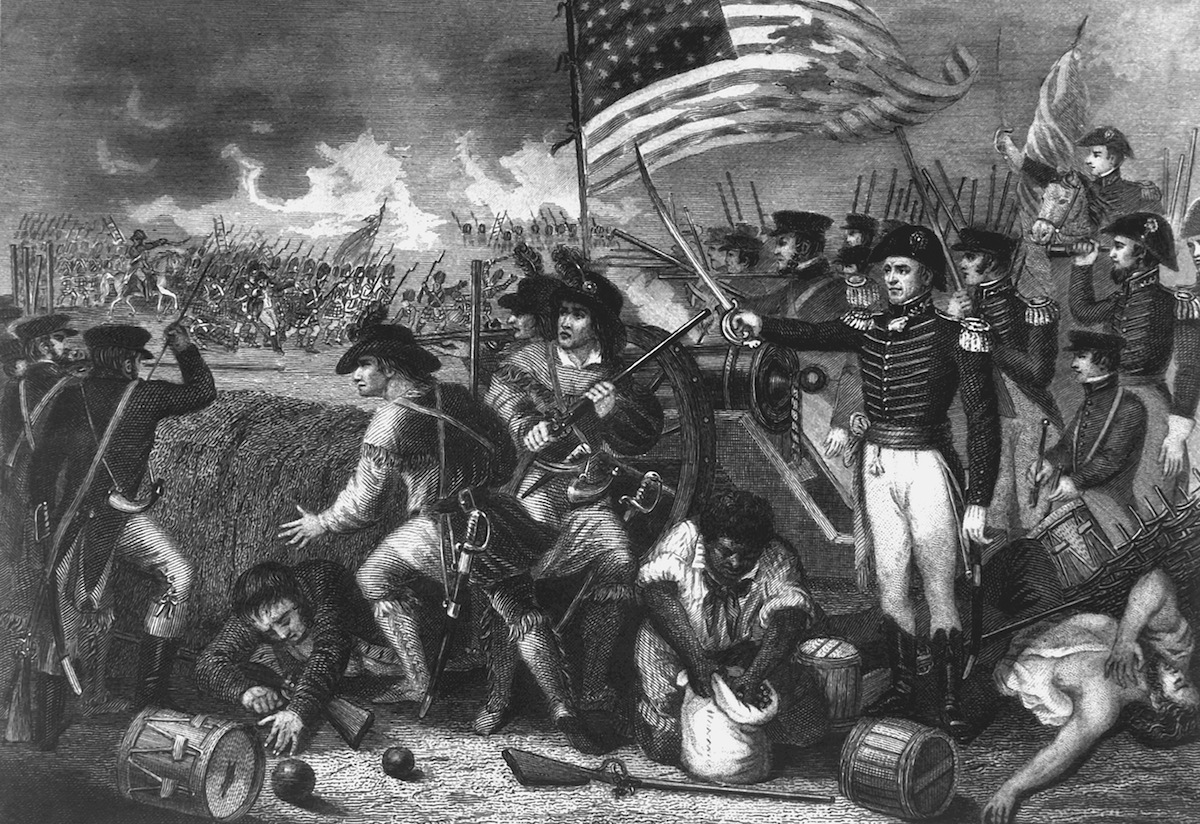 Illustration depicting a scene during the Battle of New Orleans