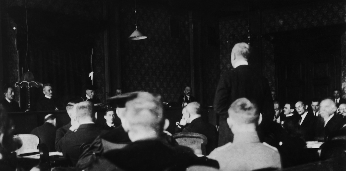 A courtroom scene on Mar. 3, 1924, during the treason trial of Adolf Hitler and Erich Ludendorff (following the unsuccessful Beer Hall Putsch of November 1923