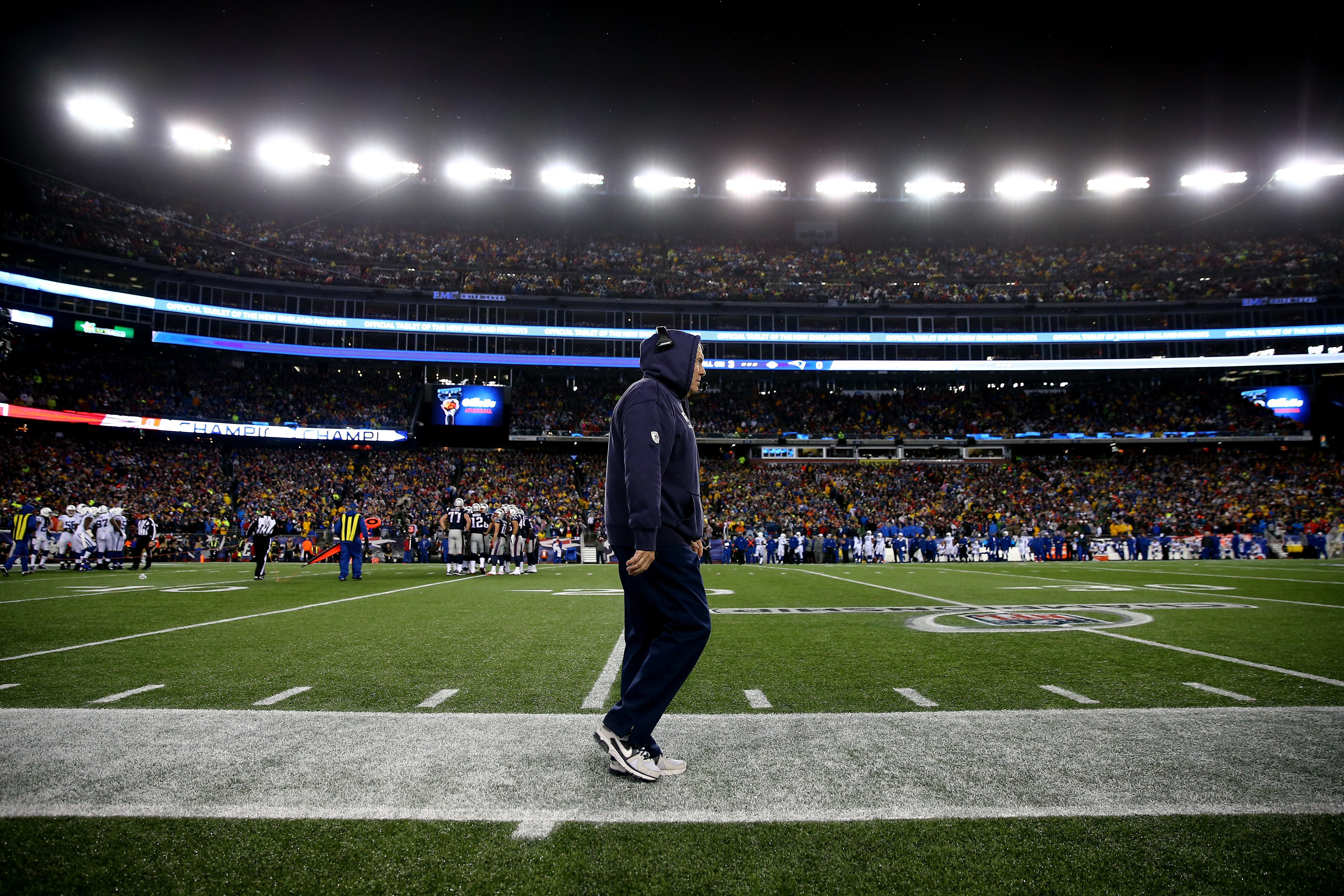 Head coach Bill Belichick of the New England Patriots looks on from the sideline in the first half against the Indianapolis Colts during the 2015 AFC Championship Game at Gillette Stadium on Jna. 18, 2015 in Foxboro, Mass.