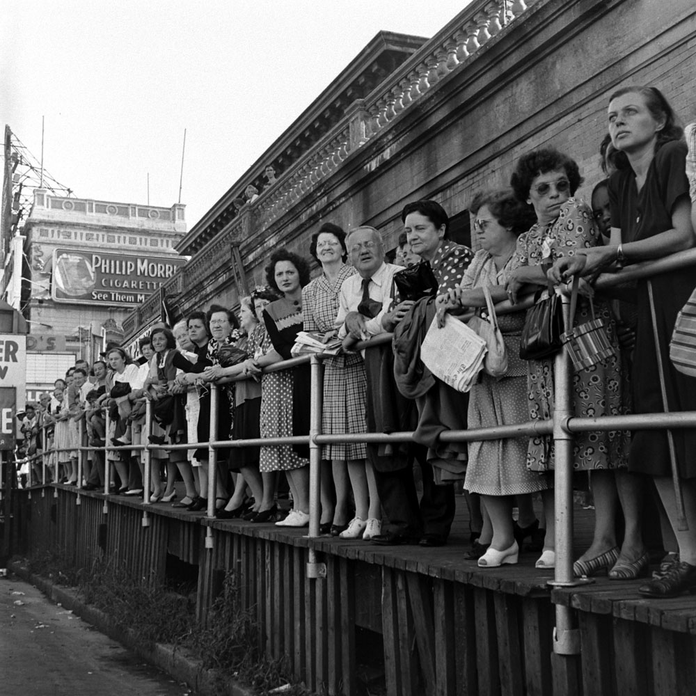 Spectators line up during the Miss America pageant festivities in Atlantic City, 1945.
