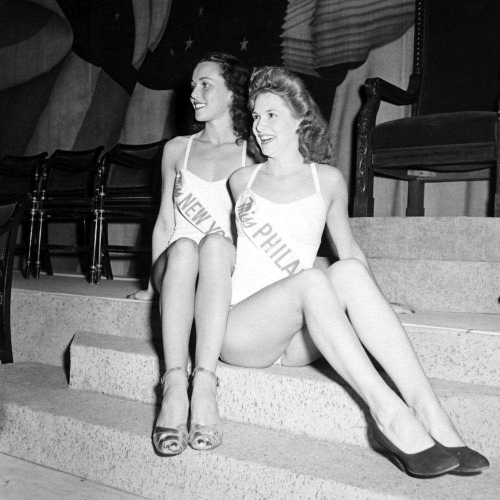Contestants in the Miss America pageant in Atlantic City, 1945.