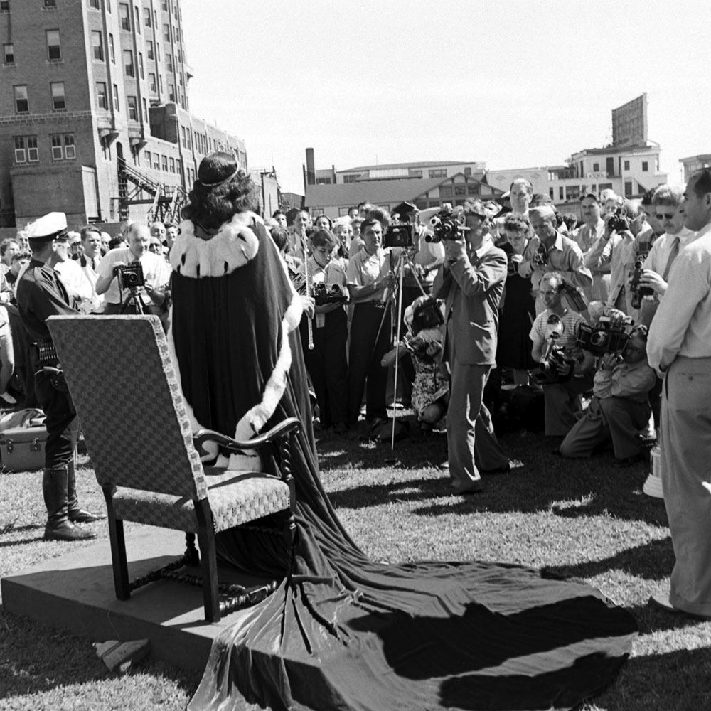 Bess Myerson, Miss America in 1945, meets the press, Atlantic City, New Jersey.