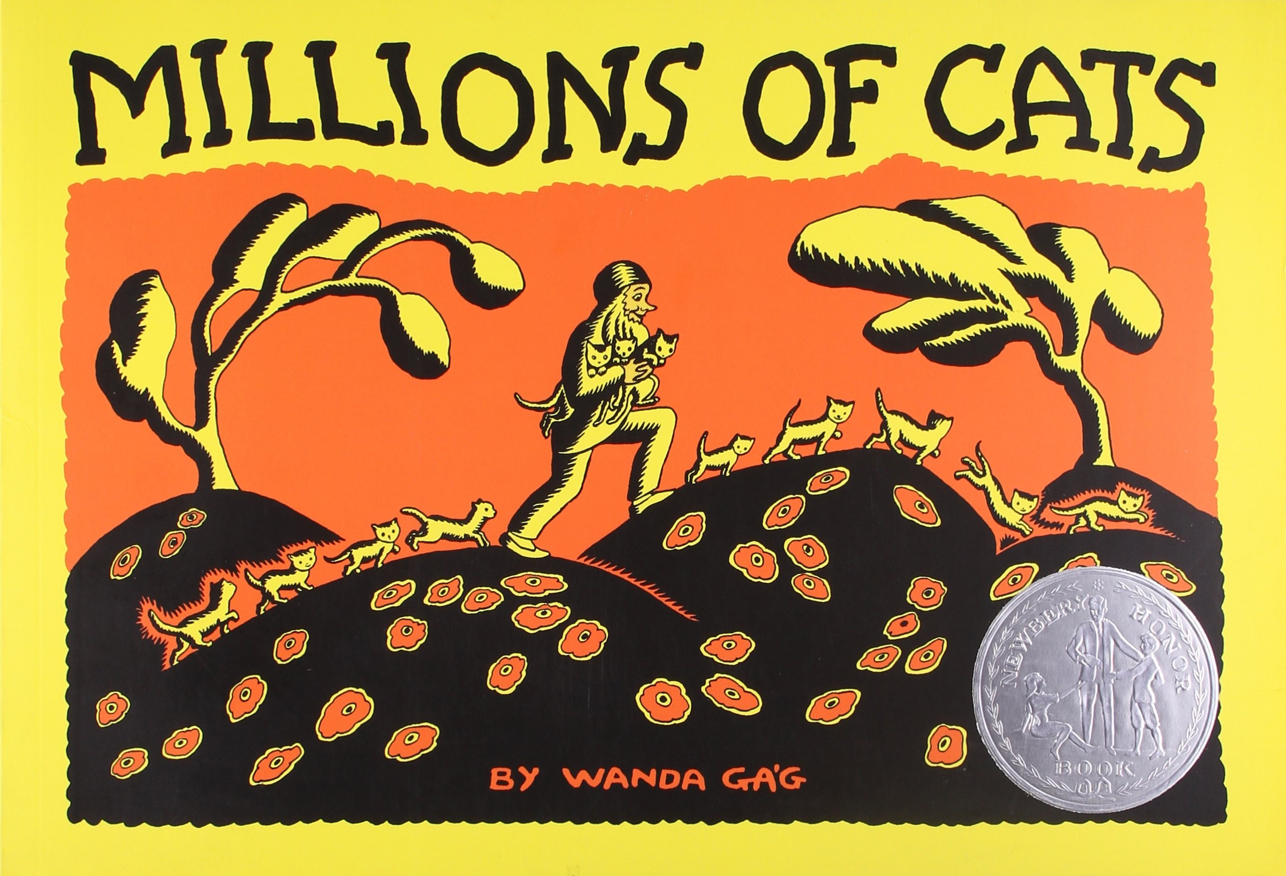 Millions of Cats, by Wanda Gag.                                                                                                                            A man seeking a new feline friend is unable to pick just one, and brings home way too many.                                                                                                                            Buy now: Millions of Cats