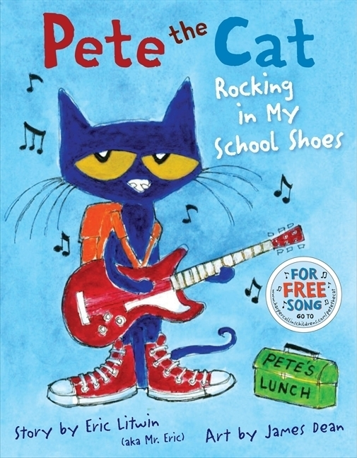 Pete the Cat (series), by Eric Litwin, illustrations by James Dean.                                                                                                                            Pete is a blue cat who loves to groove and never loses his cool, no matter what trouble he steps in.                                                                                                                            Buy now: Pete the Cat (series)