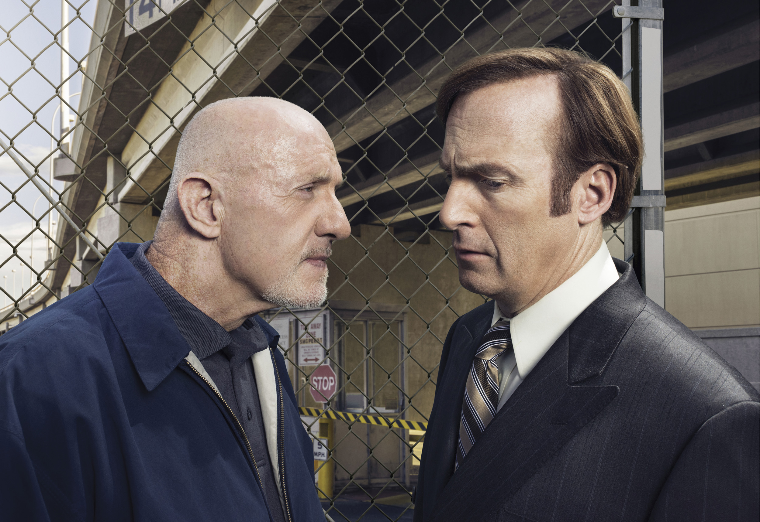 Jonathan Banks as Mike Ehrmantraut and Bob Odenkirk as Saul Goodman in 'Better Call Saul', Season 1.