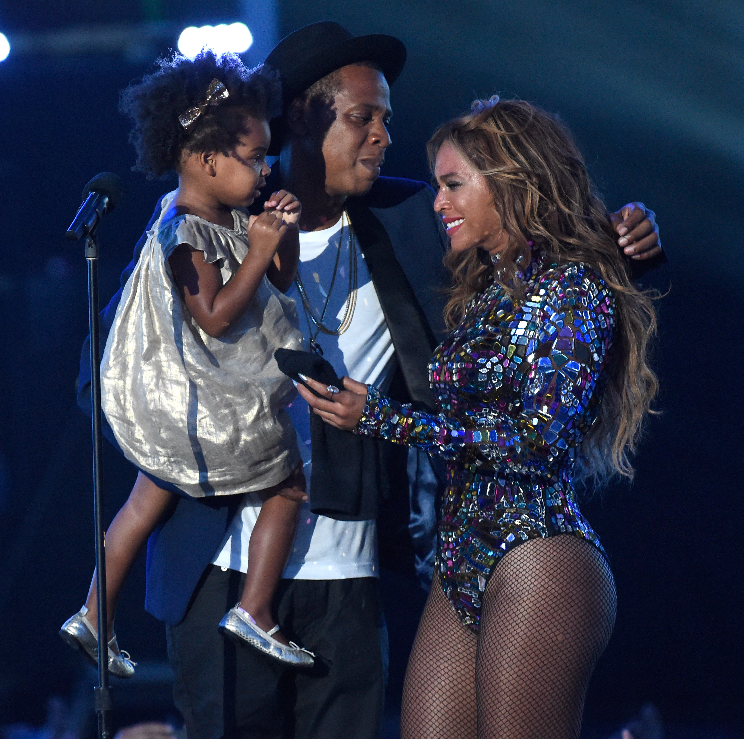 Blue Ivy Carter, Jay Z and Beyonce onstage during the 2014 MTV Video Music Awards at The Forum on Aug. 24, 2014 in California.