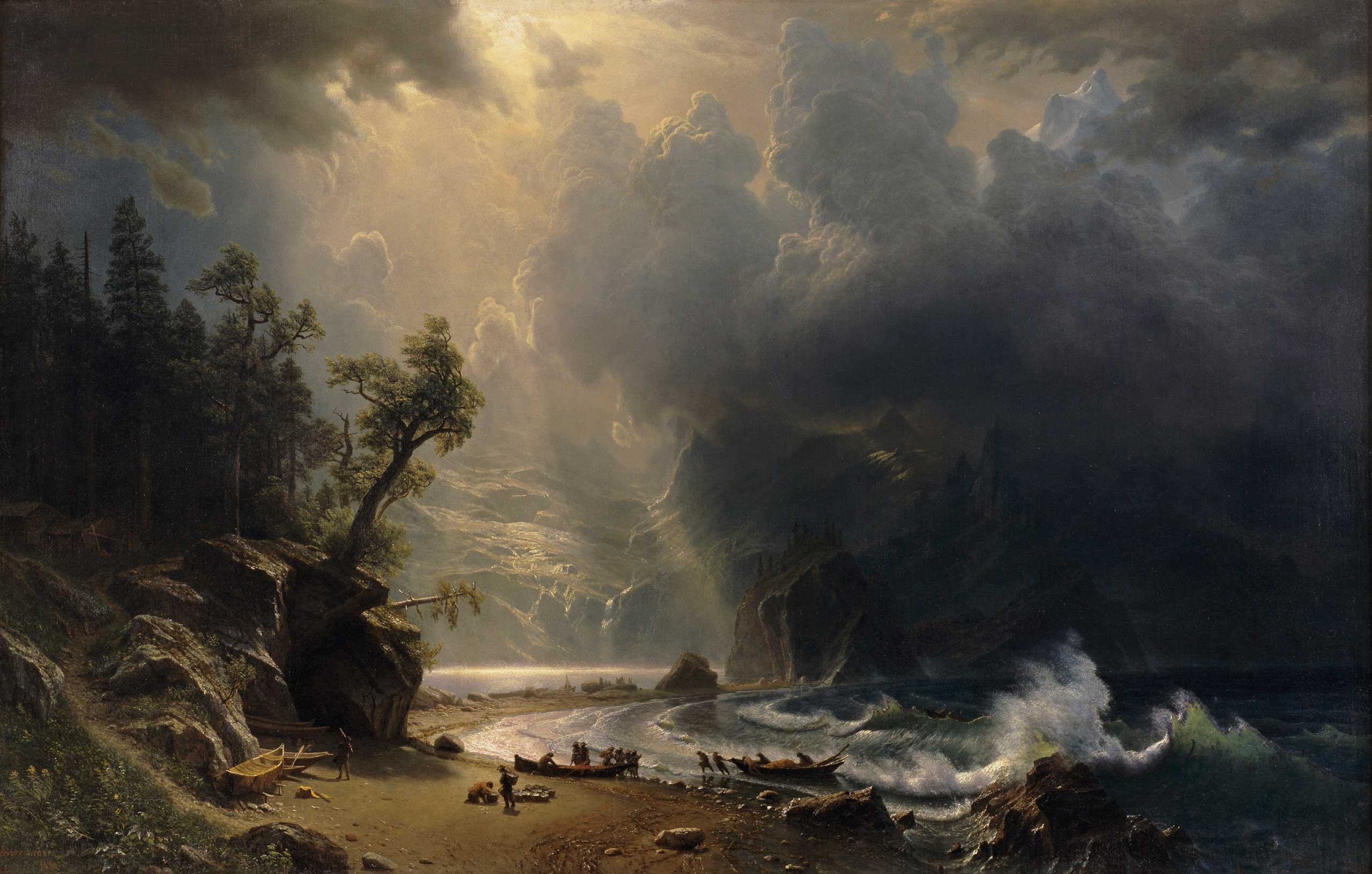 Albert Bierstadt (German, 1830–1902), Puget Sound on the Pacific Coast, 1870. Oil on canvas, 52 1/2 x 82 in. Seattle Art Museum, Gift of the Friends of American Art at the Seattle Art Museum, with additional funds from the General Acquisition Fund, 2000.70