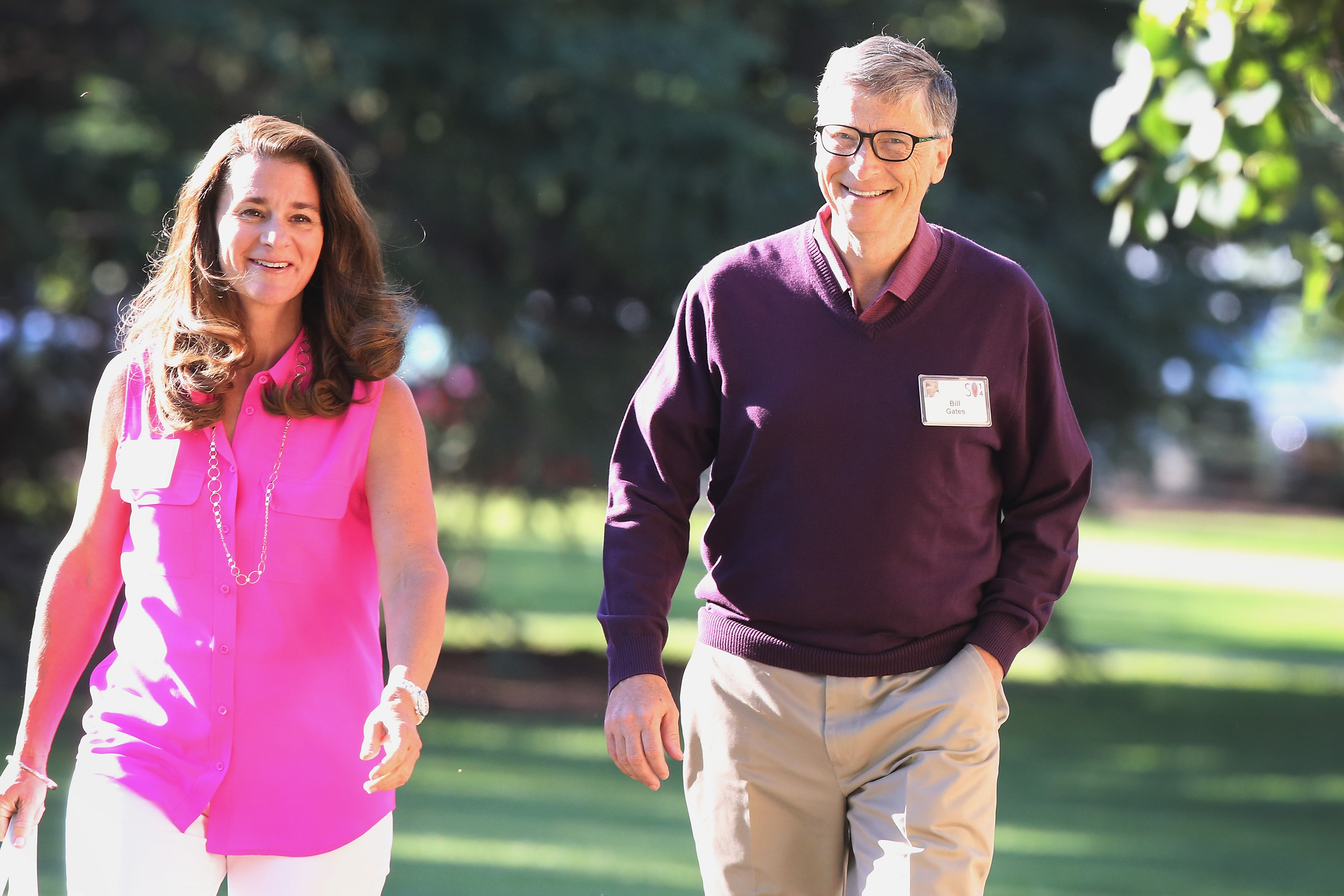 Sunny days: Melinda and Bill Gates in 2014, one year before their self-imposed deadline arrived