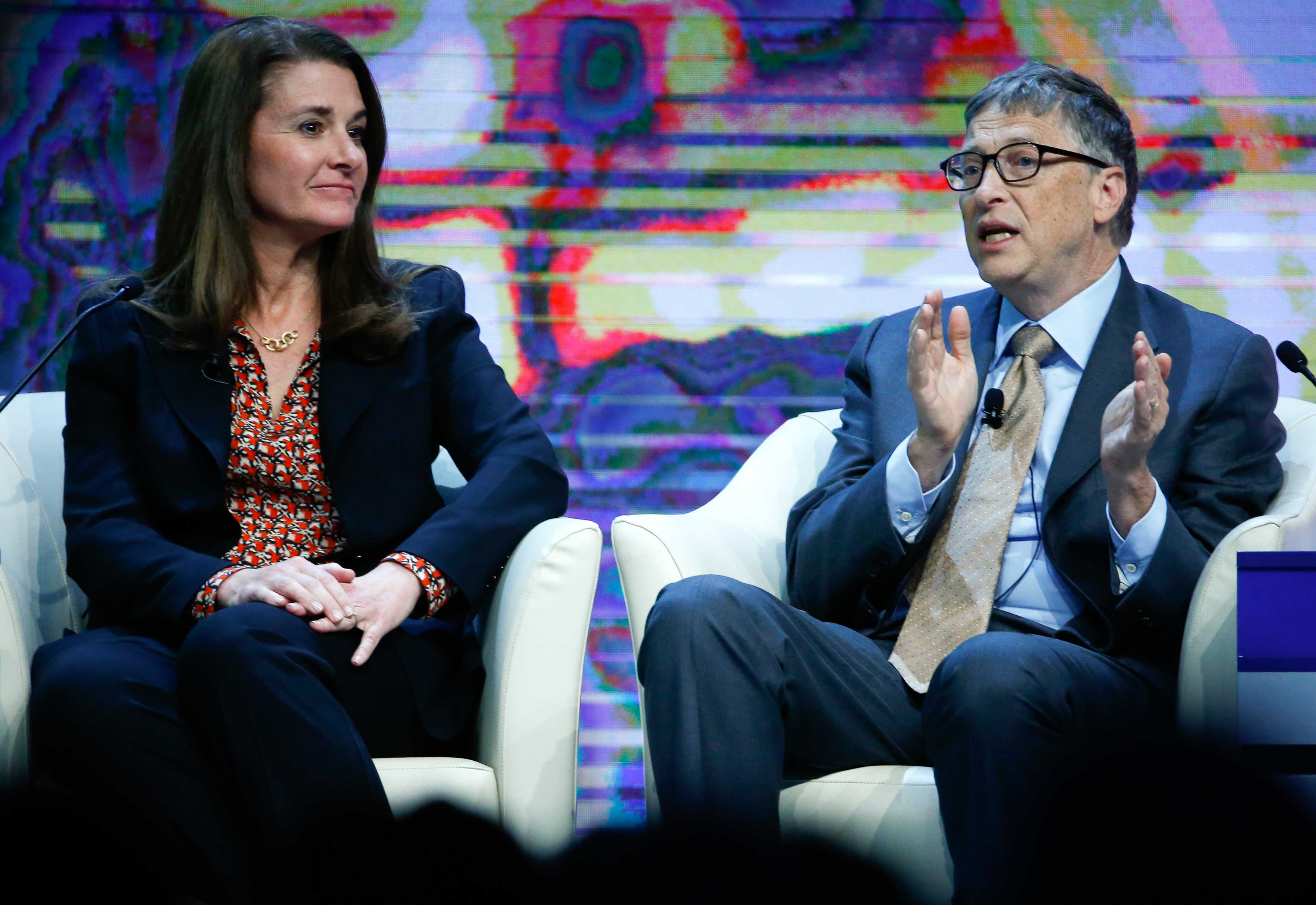 Bill and Melinda Gates at the World Economic Forum in Davos, Switzerland on Jan. 23, 2015.
