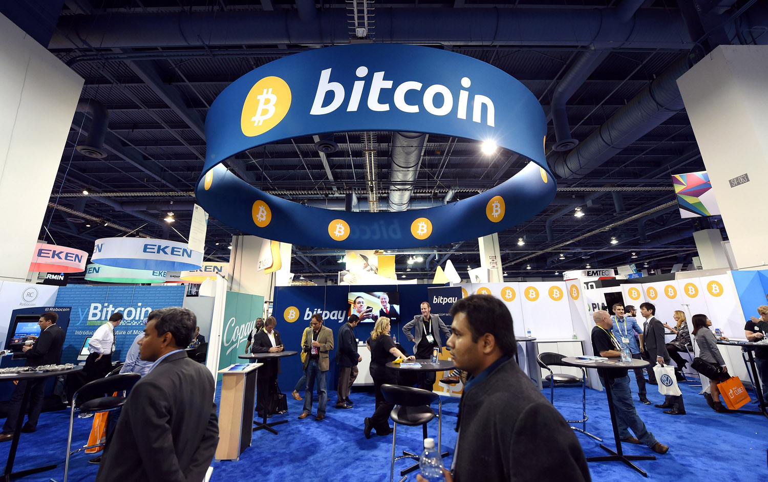 A general view of the Bitcoin booth at the 2015 International CES at the Las Vegas Convention Center on Jan. 8, 2015 in Las Vegas, Nevada.