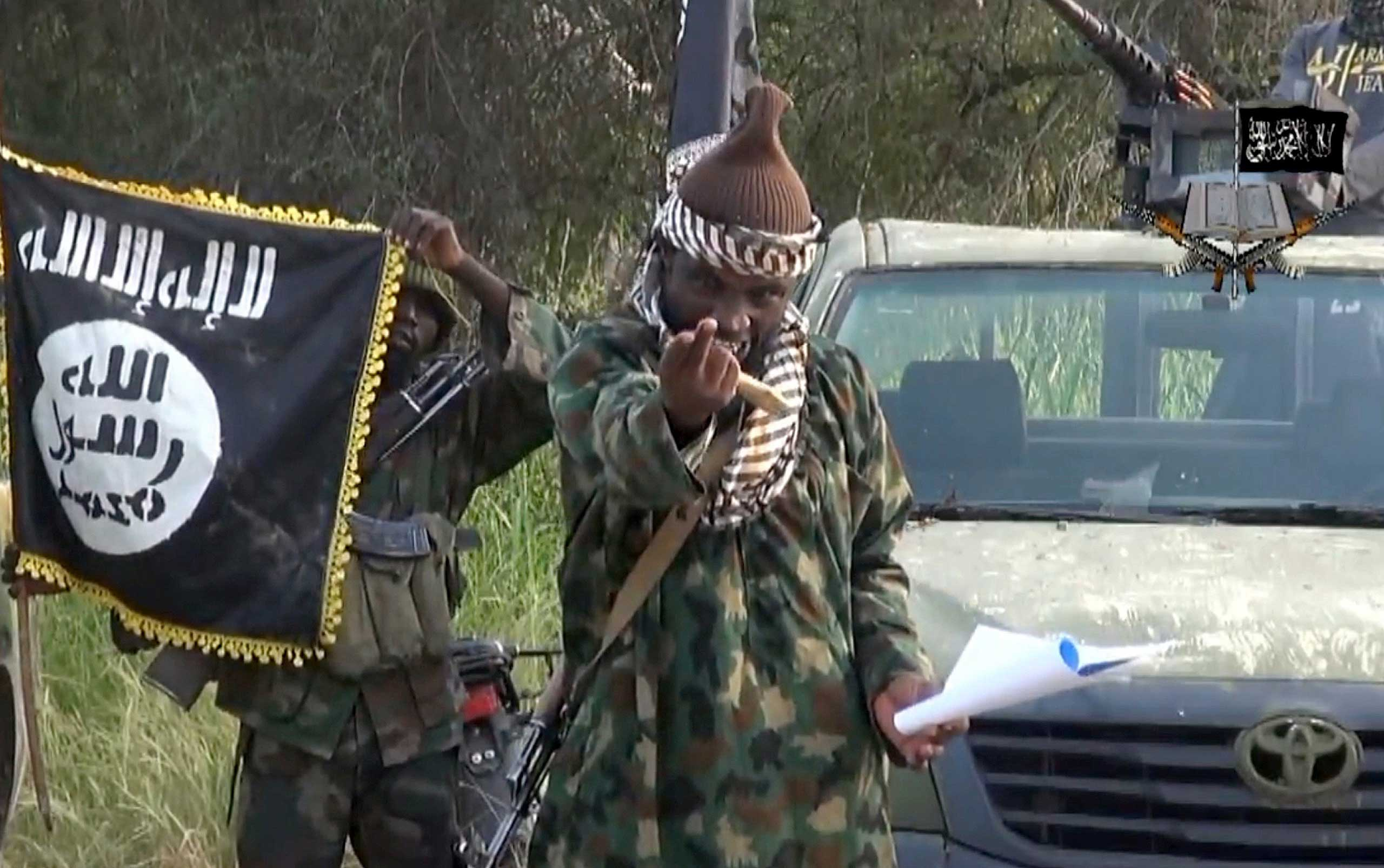 Screengrab taken on Oct. 2, 2014 from a video released by the Nigerian Islamist extremist group Boko Haram, shows group's leader Abubakar Shekau.