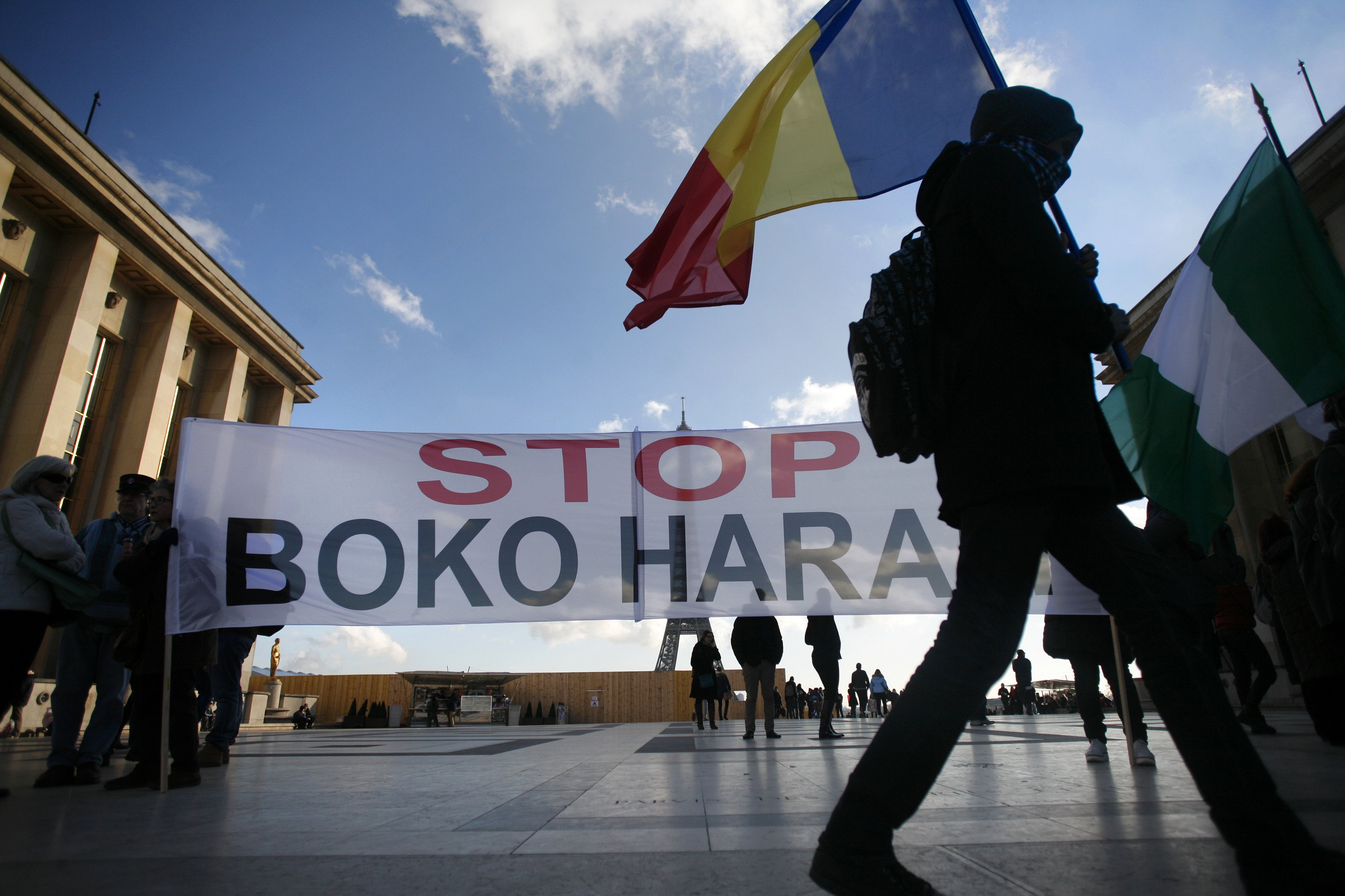 People gather against the Boko Haram attacks in Nigeria on Jan. 17, 2015 in Paris.
