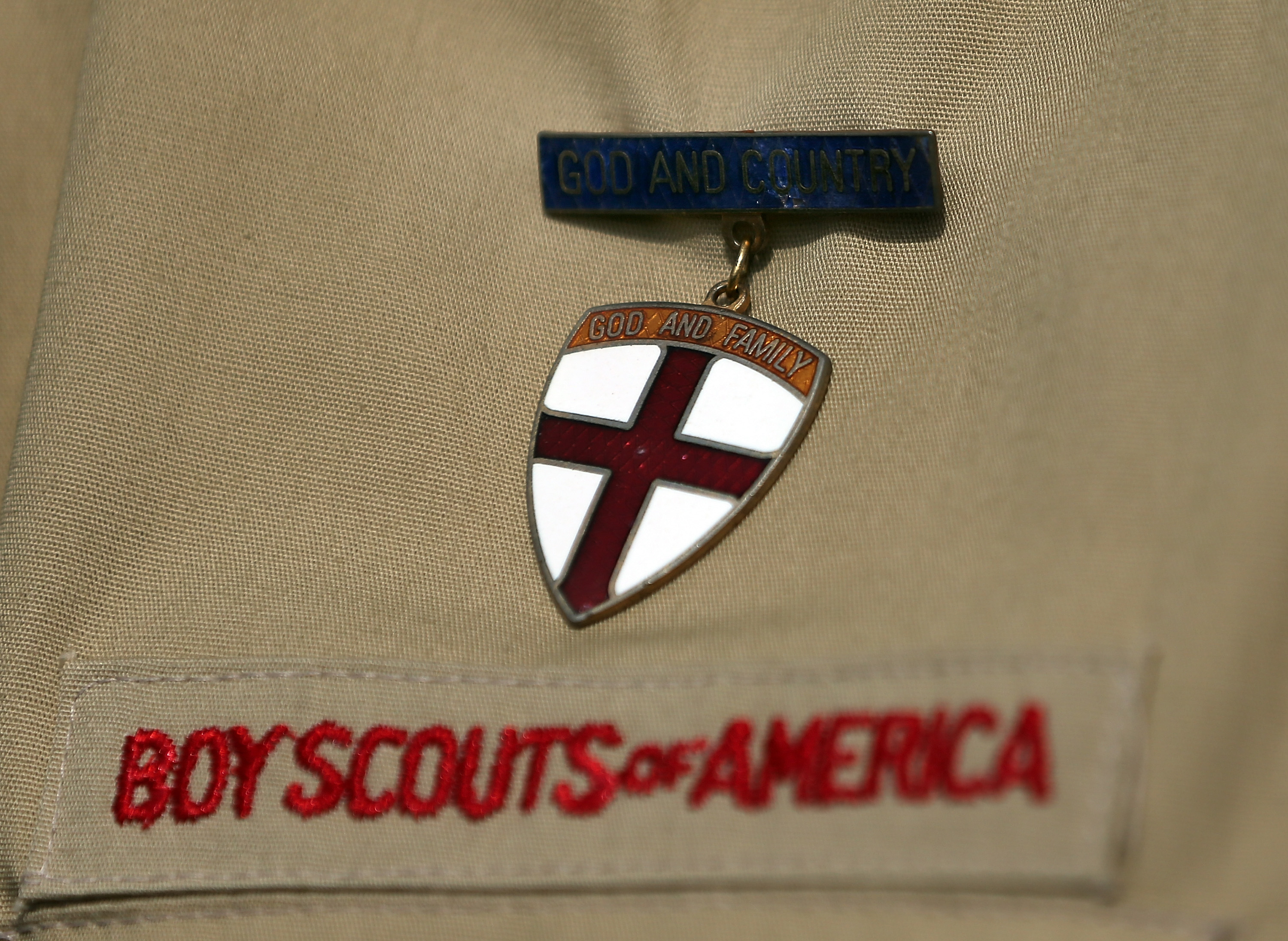 A detail view of a Boy Scout uniform.