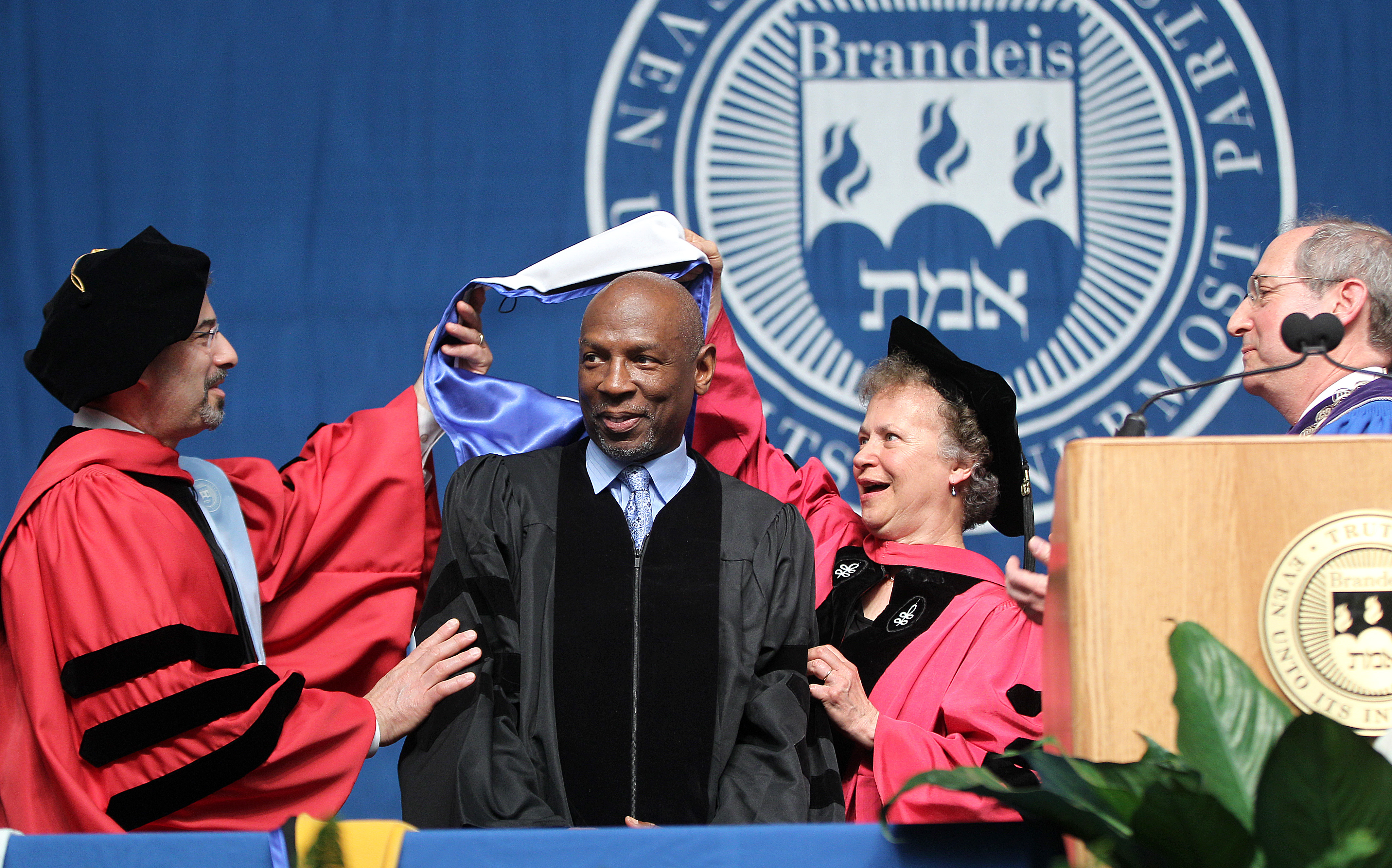 President and CEO of the Harlem Children's Zone, receives the Honorary Degree of Doctor of Humane Letters at Brandeis University's 63rd commencement on May 18, 2014.