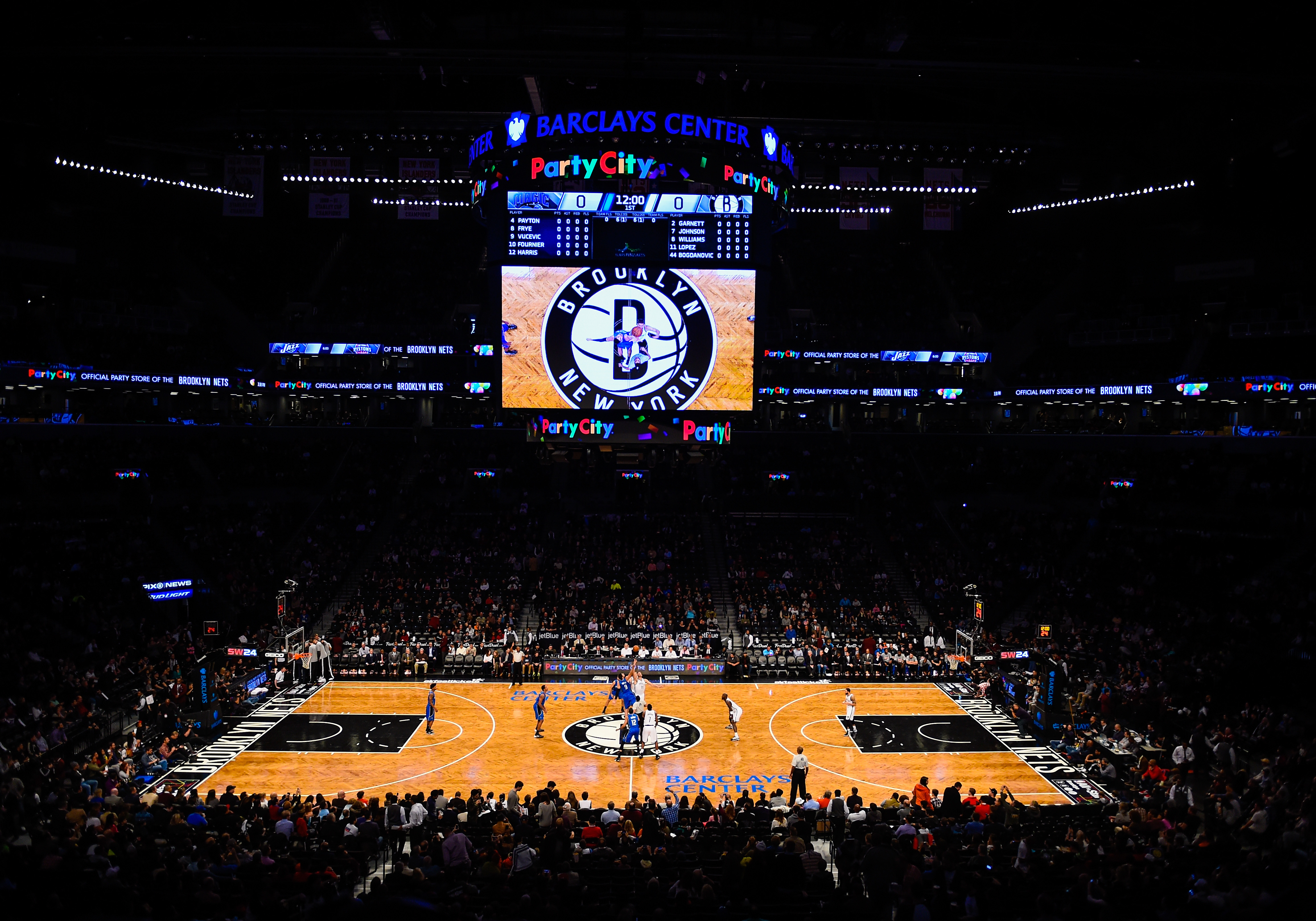 General view as fans watch a tip-off between the Brooklyn Nets and Orlando Magic at the Barclays Center on Nov. 9, 2014 in Brooklyn, New York.