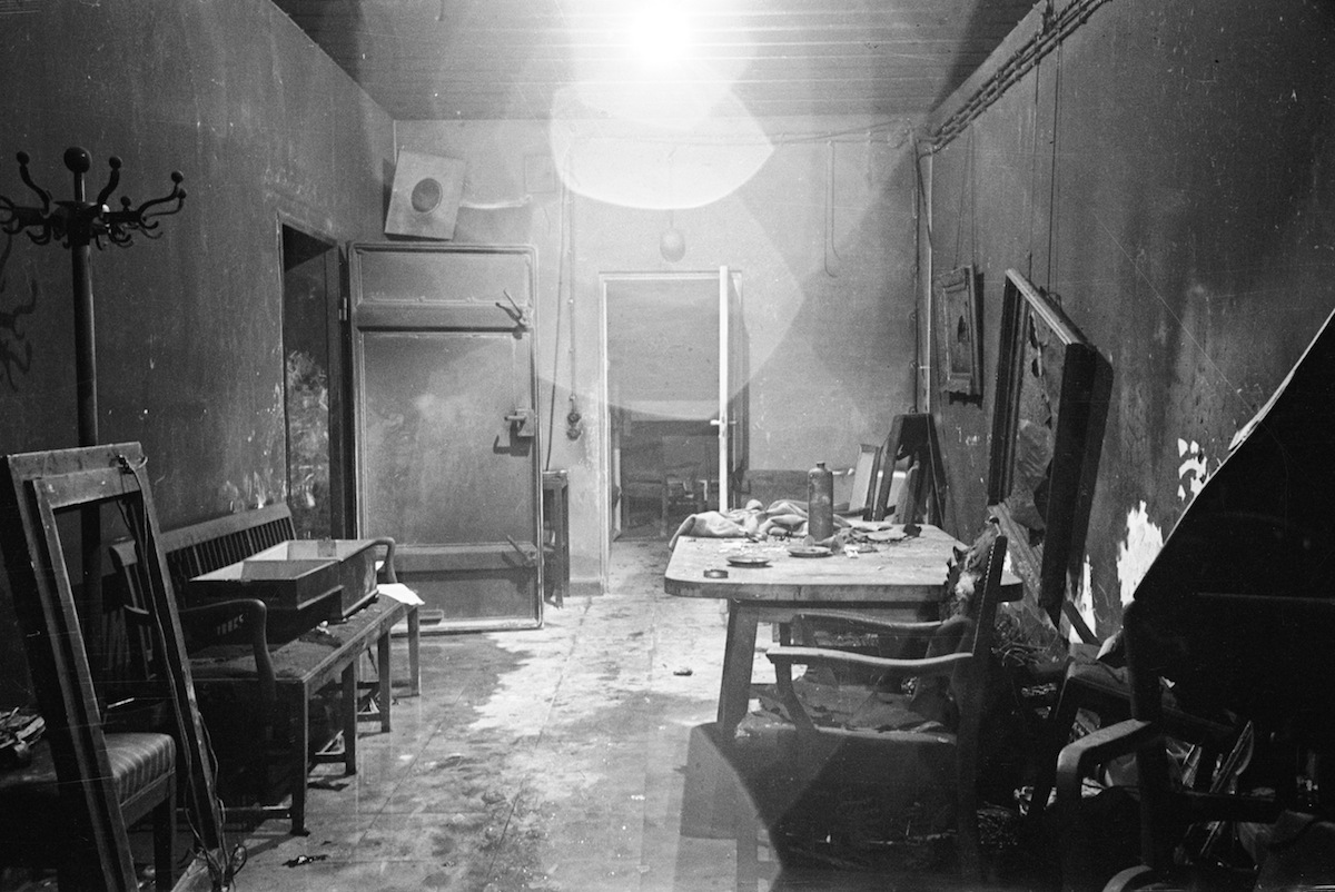 Adolf Hitler's command center conference room partially burned out by SS troops and stripped of evidence by invading Russians, in bunker under the Reichschancellery after Hitler's suicide