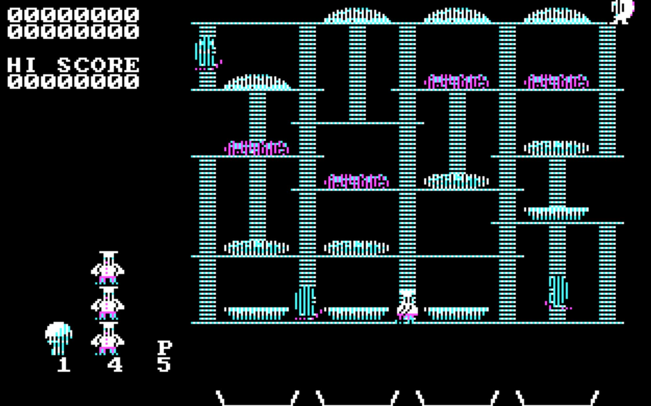 BurgerTime (1982)                                                               Guide Peter Pepper in this hamburger-assembling action game, as he tries to build the biggest mouthfuls while being chased by enemy eggs and pickles and hot dogs.