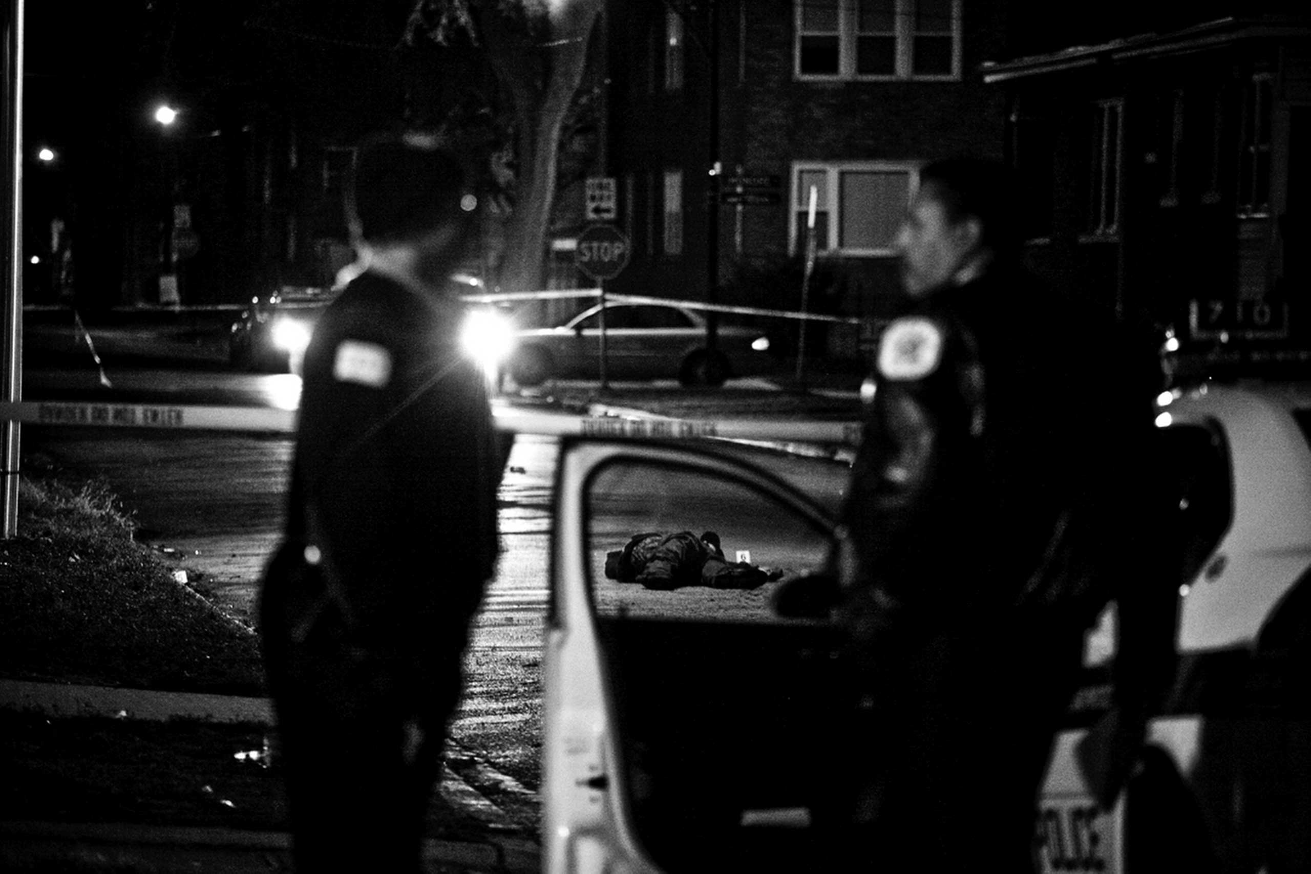 Arthur Burgess, 19, of the 500 block of East 32nd Street, was shot on a cold winter night and died at the scene. His friend was shot twice but survived. Englewood, Chicago, 2009.