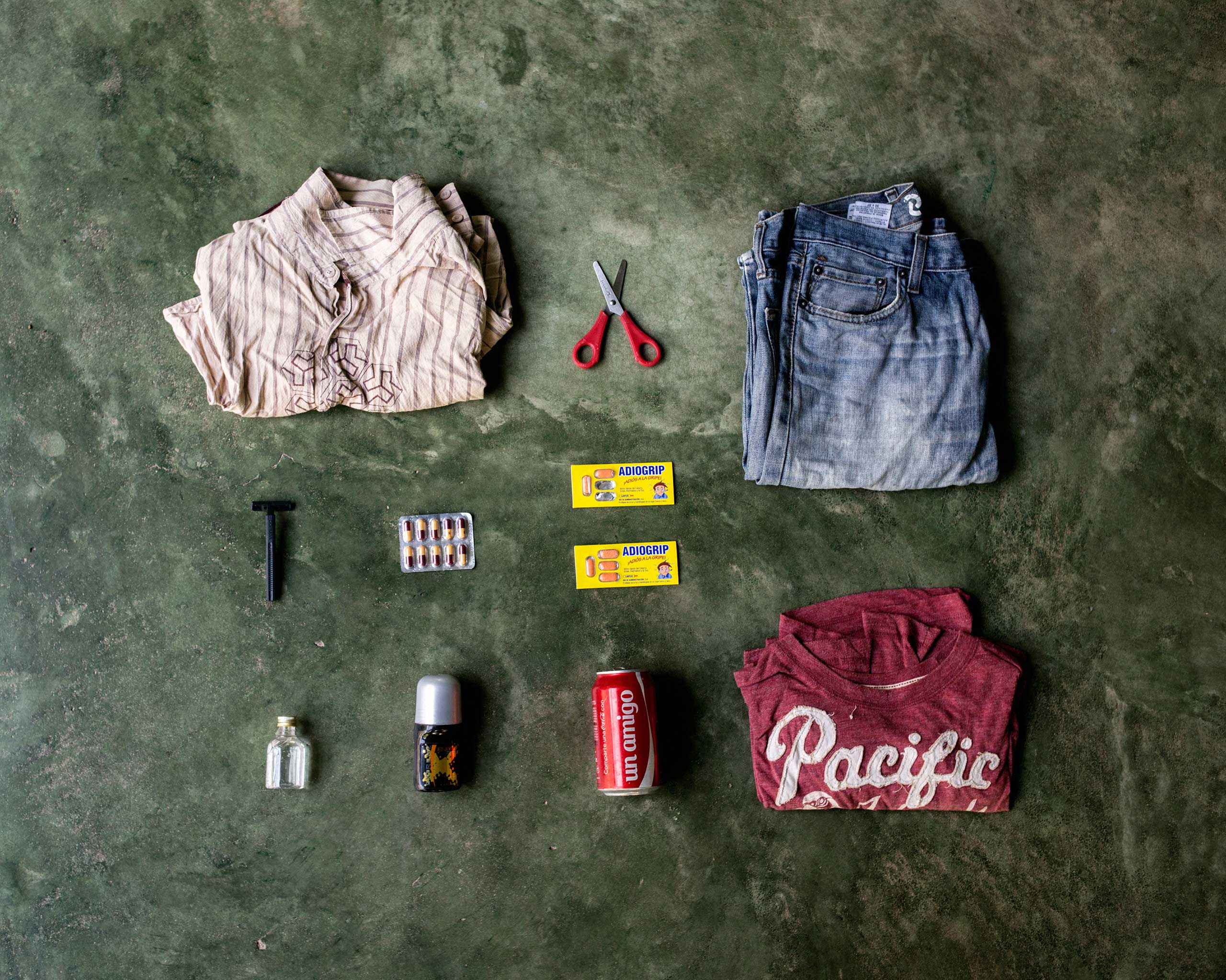 TIME LightBox: In The Bag for NorthCarlos Gomez, 34, from Guatemala. He already has lived in Miami for ten years until he was deported five month ago. He tried to go back in U.S. but was deported again from Mexico. In his bag has a shirt, scissors, a pair of pants, razorblade, pills, shampoo, deodorant, a can of coke and a T-shirt.