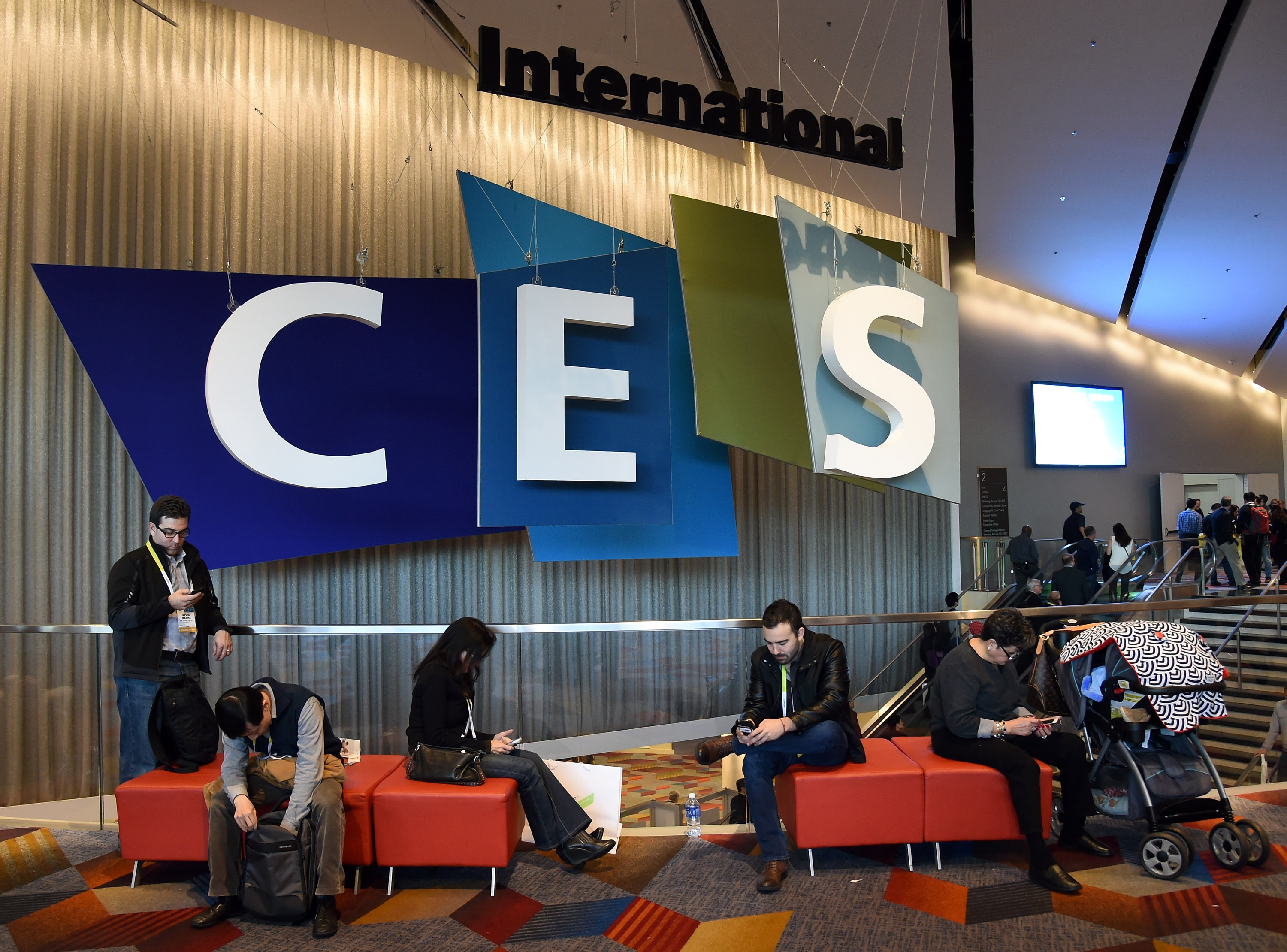 Attendees take a break at the 2015 International CES on Jan. 6, 2015 in Las Vegas, Nevada.