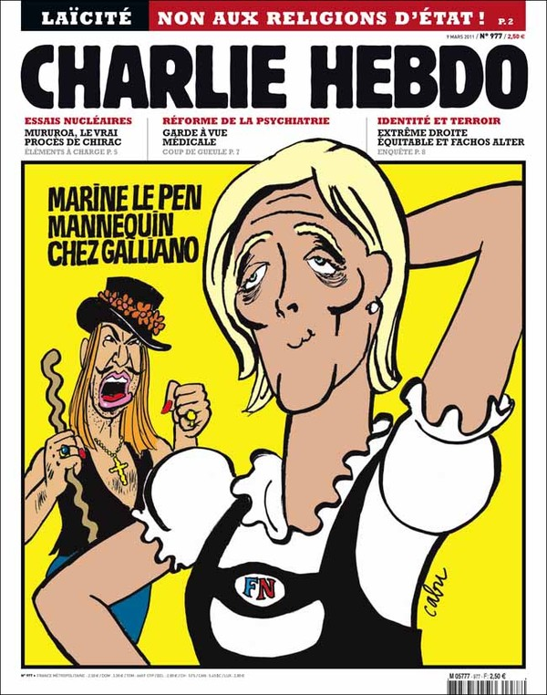 Depicted: Marine Le Pen, leader of the far right Front National party.  The new model for John Galliano.  Galliano, portrayed in background, made anti-Semitic remarks just before Paris Fashion Week in 2011.