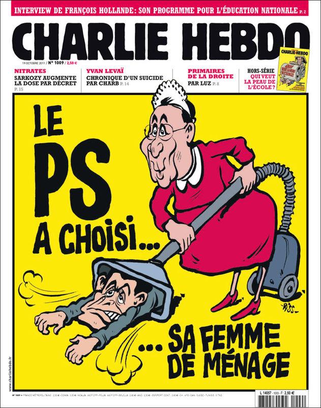 The socialist party has chosen its maid.  (François Hollande vacuums up Nicolas Sarkozy)