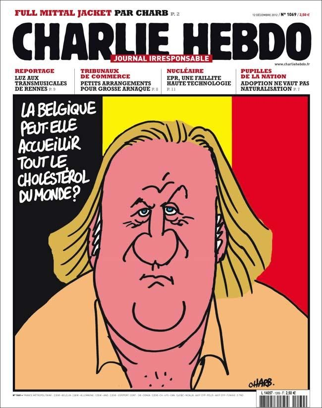 After Gerard Depardieu decided to leave France for Belgium to avoid taxes, Charlie Hebdo published a cover asking if Belgium had the capacity to welcome the entire world's cholesterol.
