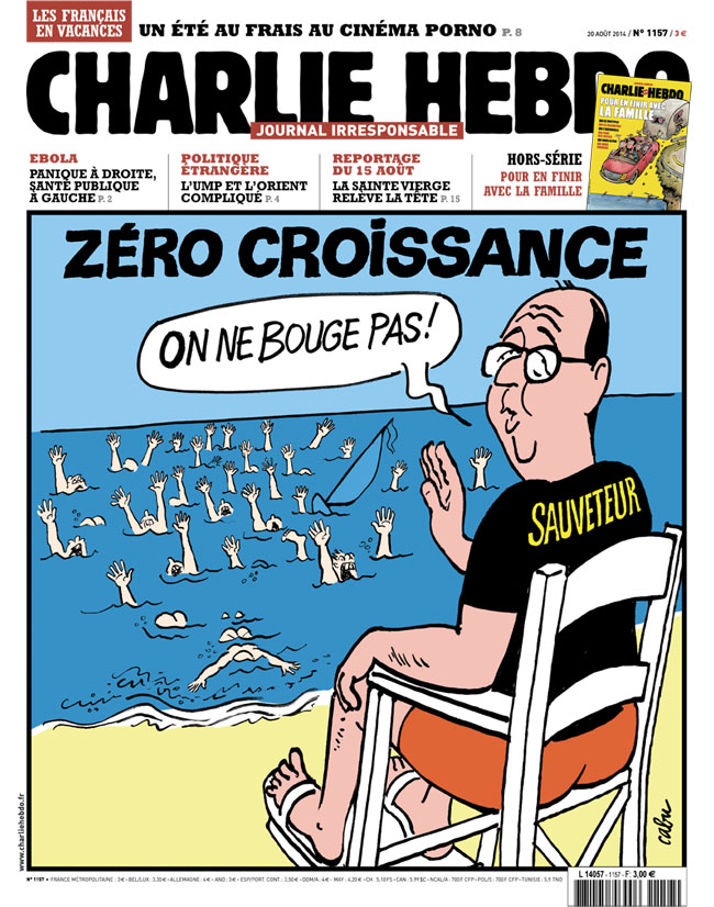 Zero growth.                                 Hollande sits in lifeguard chair and says,  We don't move,  while everyone in the water drowns.