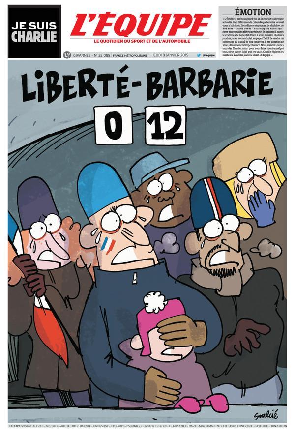 """""""Liberty: 0 - Barbarism: 12"""" / <i>L'Equipe</i>, France"""