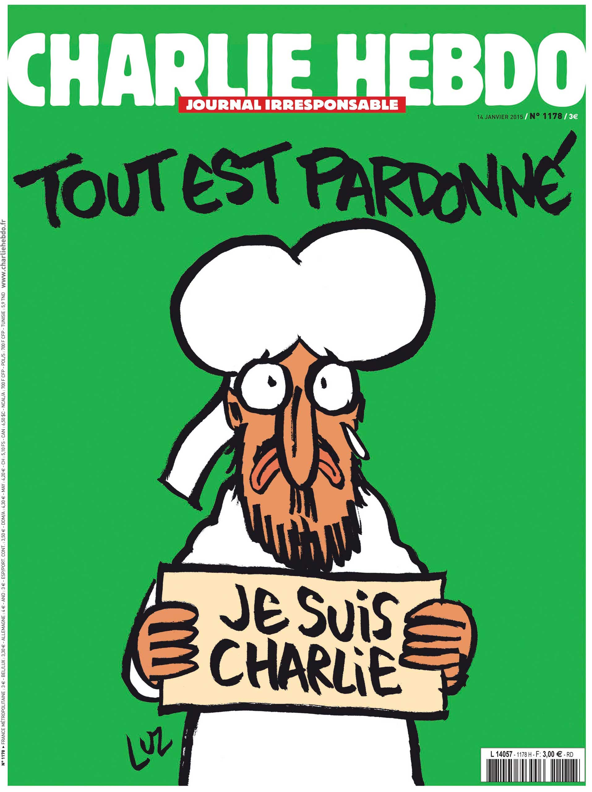 The new cover of satirical weekly Charlie Hebdo.