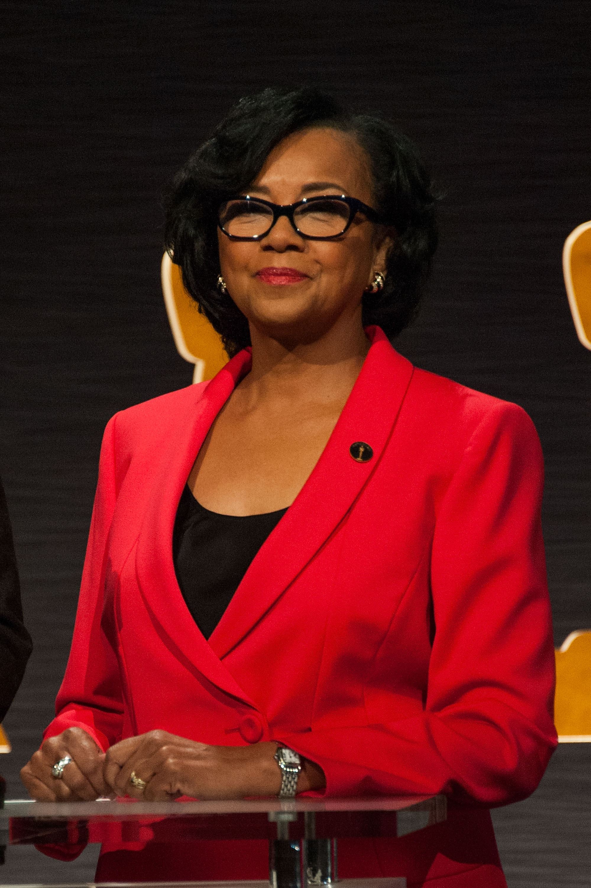 Academy President Cheryl Boone Isaacs attends the 87th Academy Awards Nominations Announcement at AMPAS Samuel Goldwyn Theater on Jan. 15, 2015 in Beverly Hills, California.