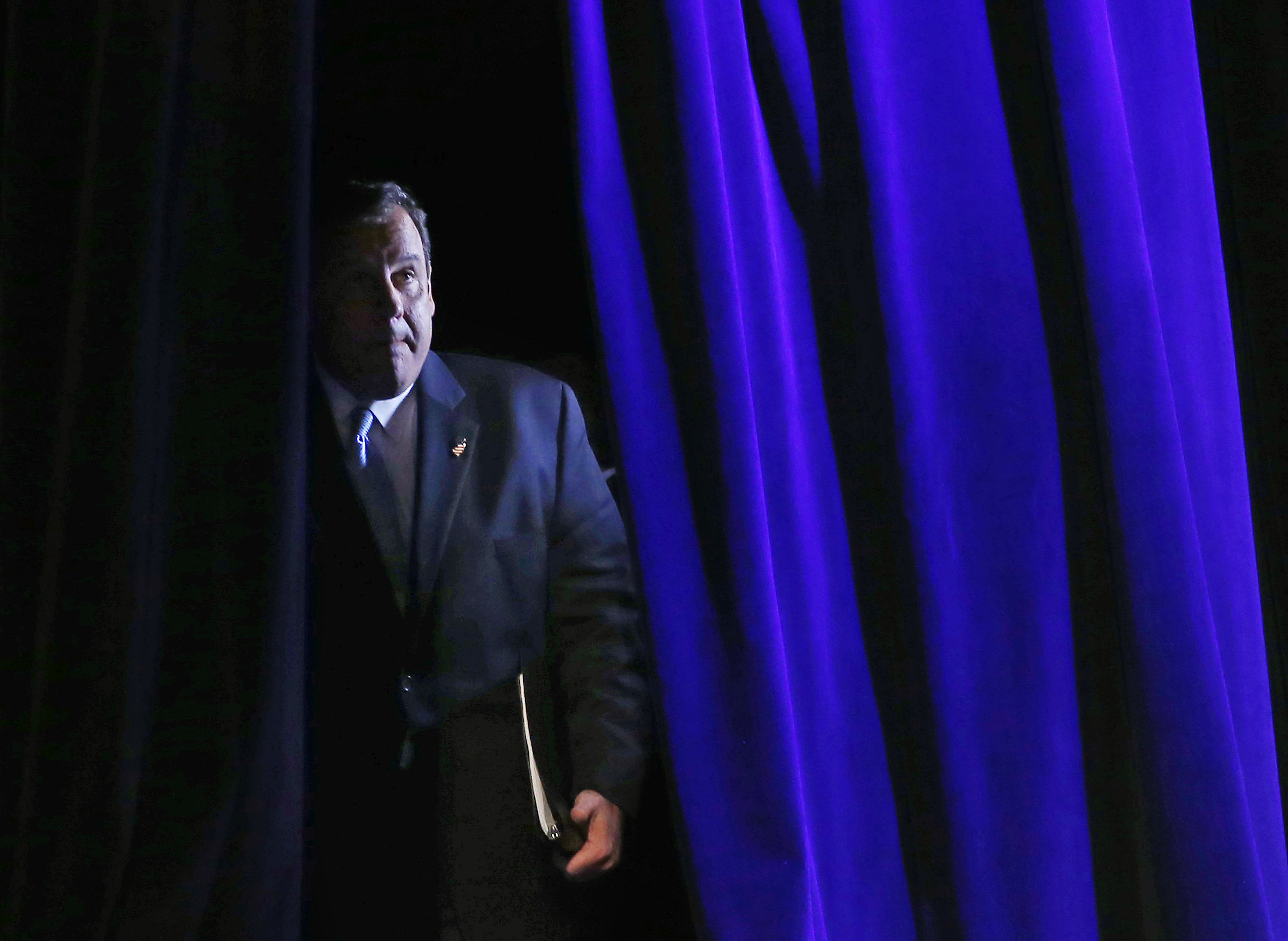 Governor of New Jersey Chris Christie arrives to speak at the Freedom Summit in Des Moines, Iowa on Jan. 24, 2015.