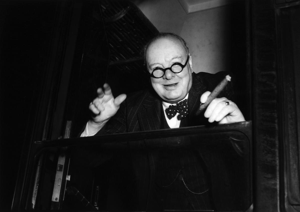 Winston Churchill arrives in Paris, circa 1948