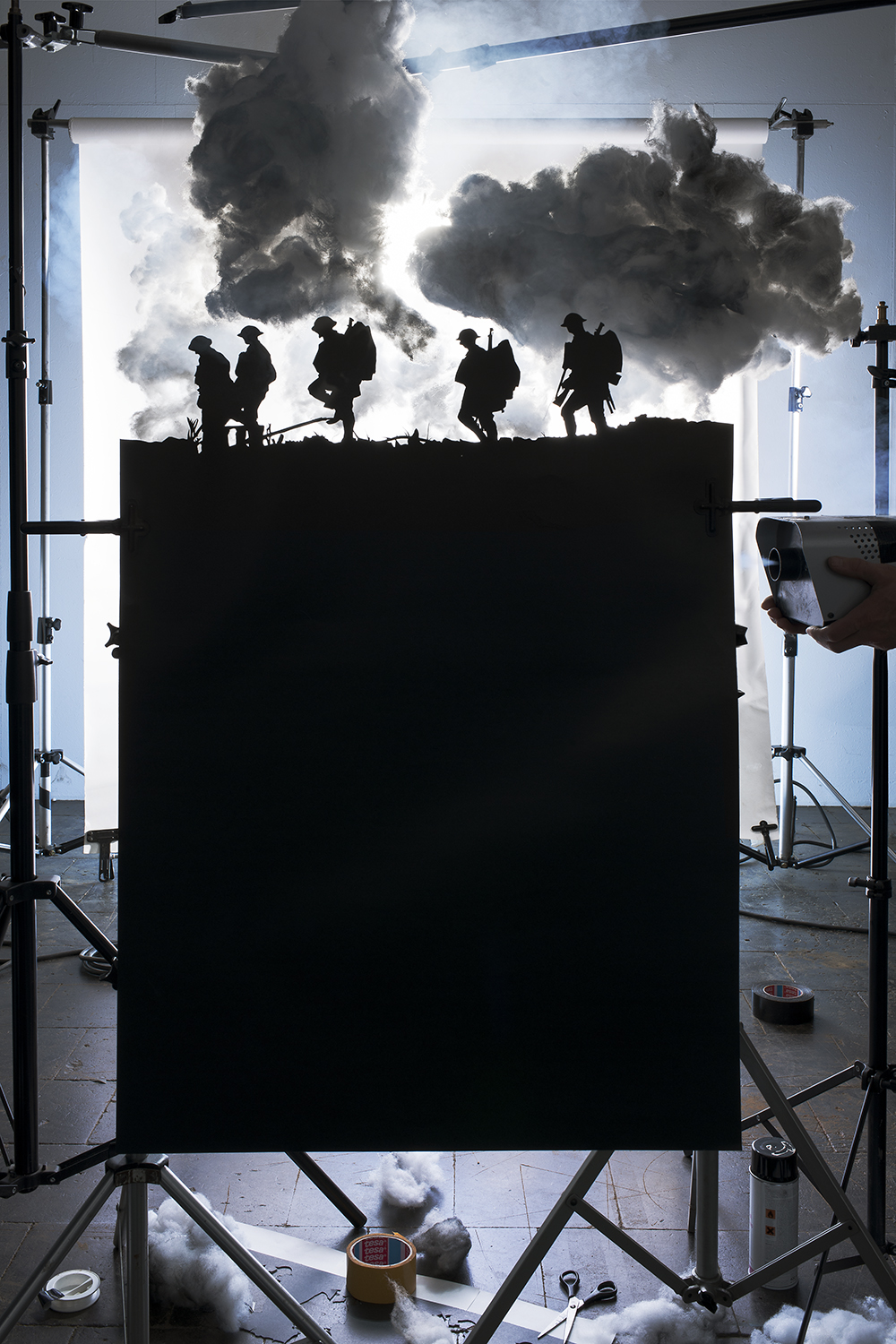 Making of Five Soldiers Silhouette at the Battle of Broodseinde, 2013. Original photo by by                               Ernest Brooks, 1917.
