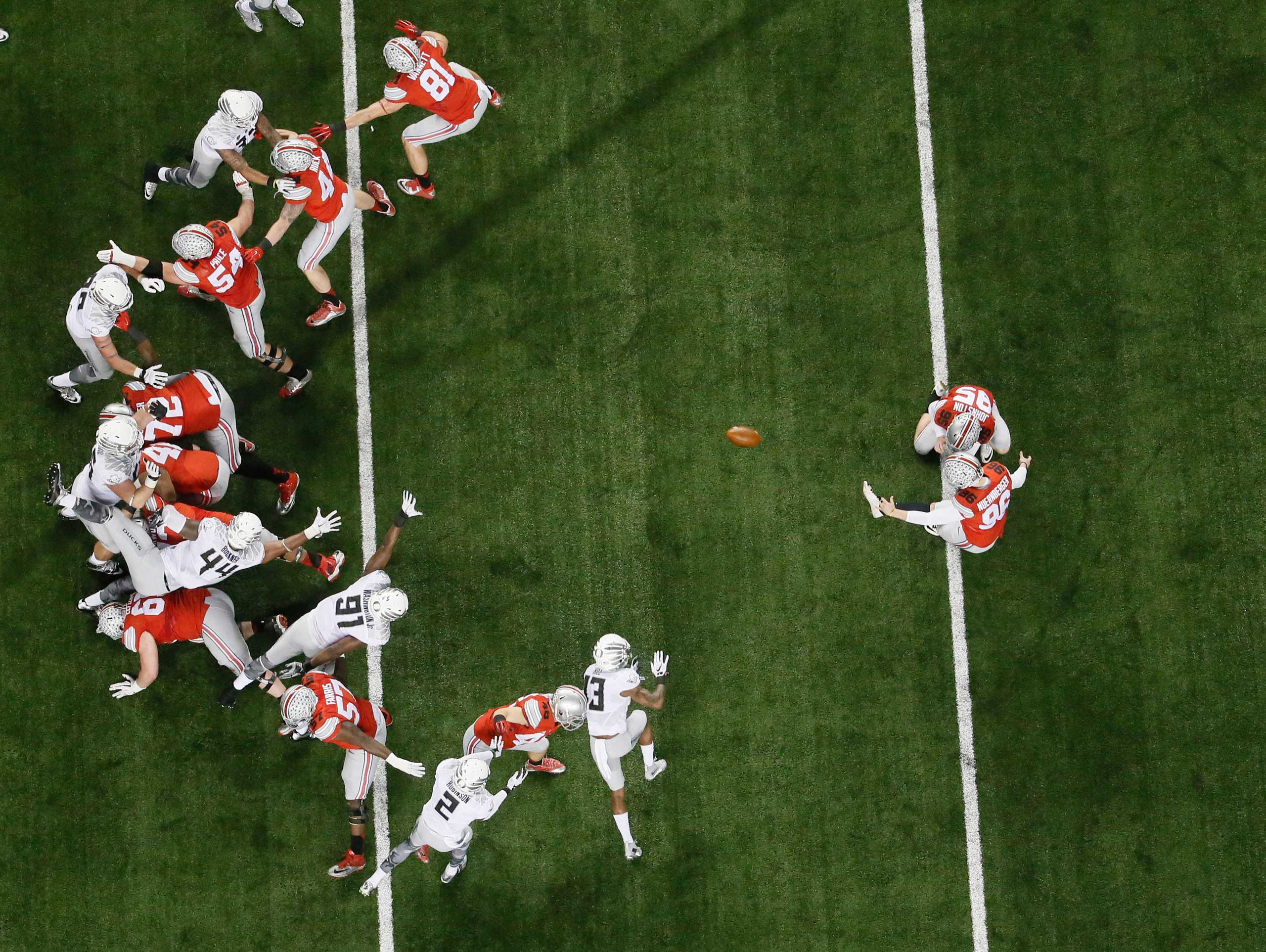 Ohio State place kicker Sean Nuernberger (96) kicks an extra point during the NCAA college football playoff championship game against Oregon on Jan. 12, 2015, in Arlington, Texas.