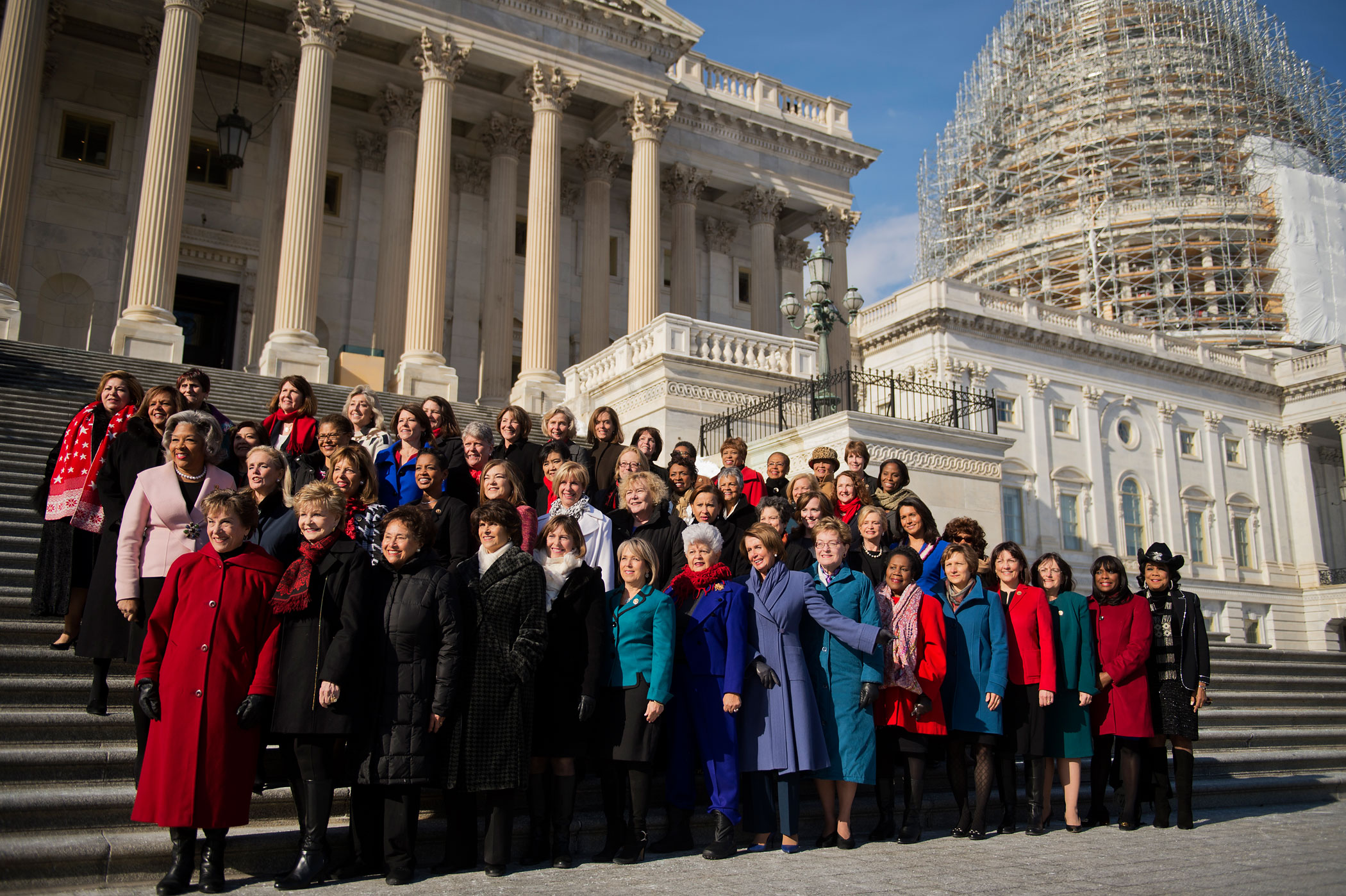 House Democratic women of the 114th Congress including House Minority Leader Nancy Pelosi, pose for a picture on the House steps of the Capitol, Jan. 7, 2015.