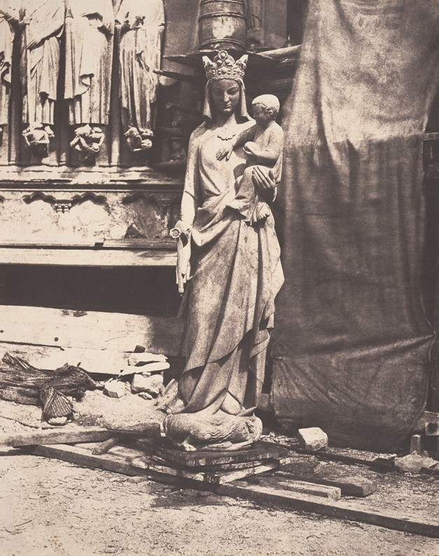 Statue of the Virgin and Child by Geoffroy-Dechaume, in the construction site at Notre Dame, Paris, ca. 1854