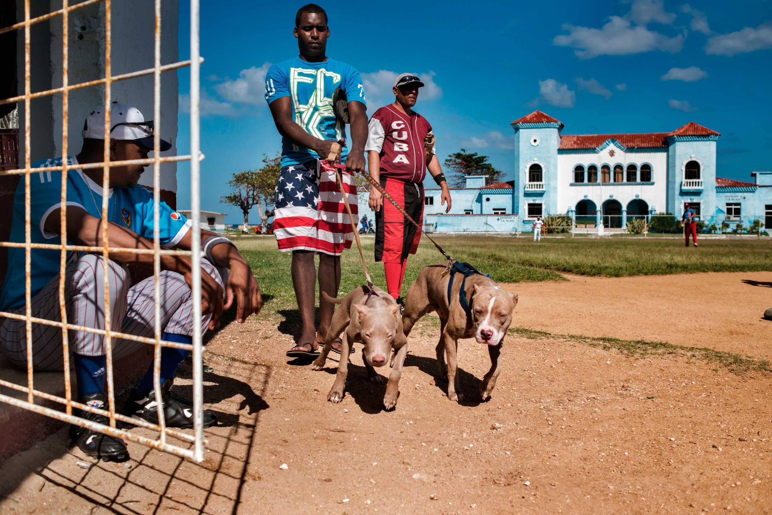 Man wears shorts with the colors of the U.S. flag in Jaimanitas, Cuba, Jan. 2015.