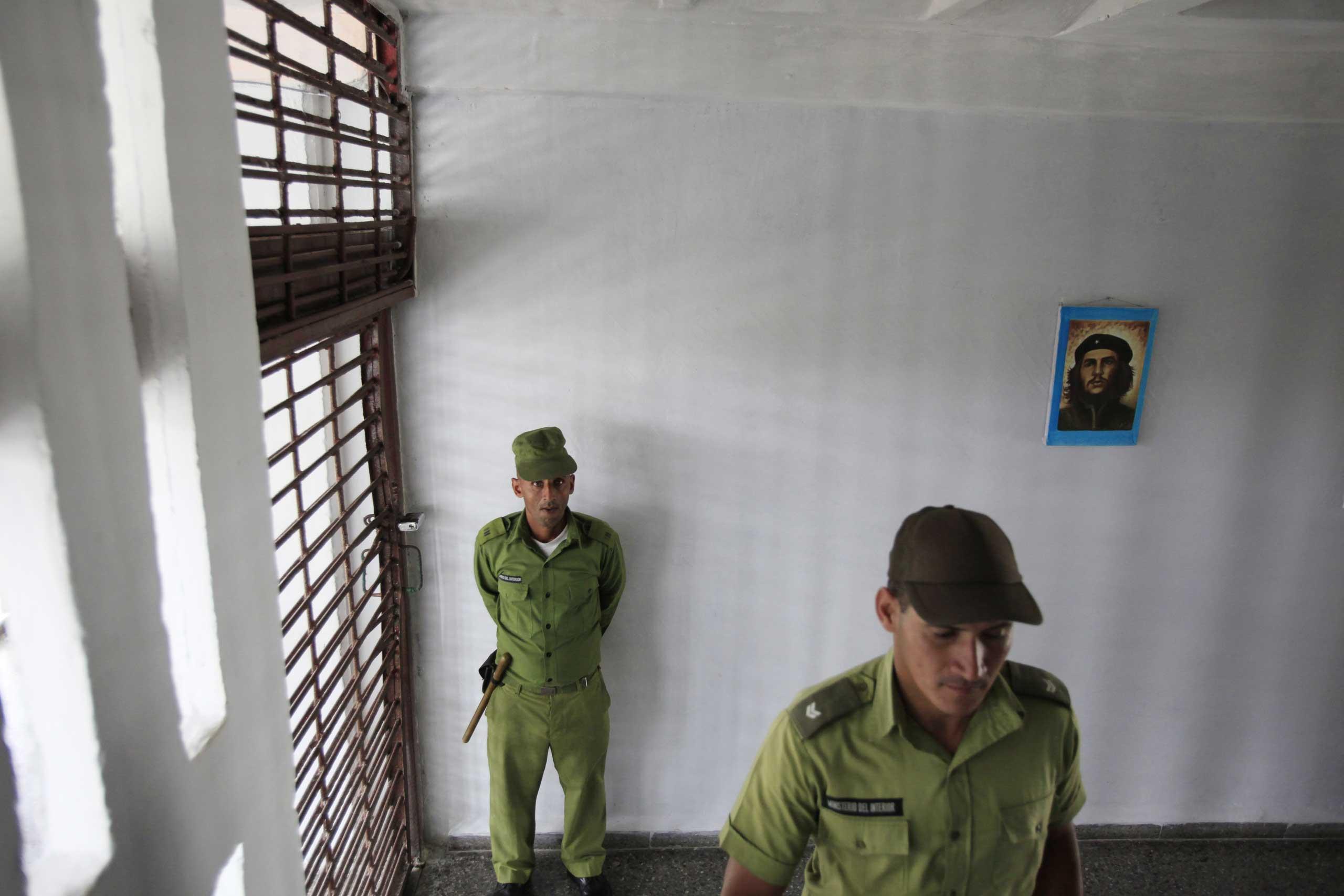 Military guards at the Combinado del Este prison in Havana, Cuba in 2013.