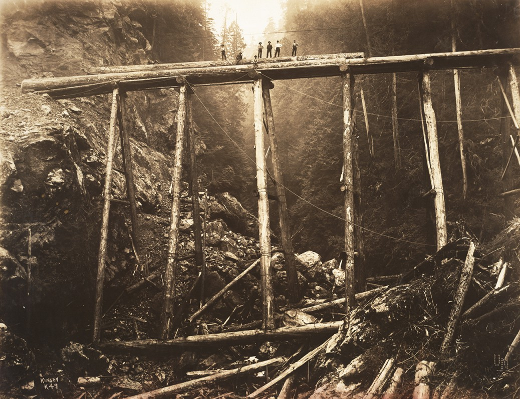 Building Logging Railroad Bridge over a Canyon, Using Fir Bents 100 Feet Long, ca. 1908