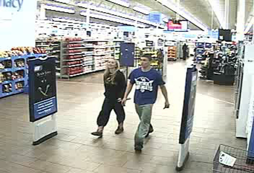 A still from surveillance shows 18-year-old Dalton Hayes and 13-year-old Cheyenne Phillips leave a South Carolina Wal-Mart.