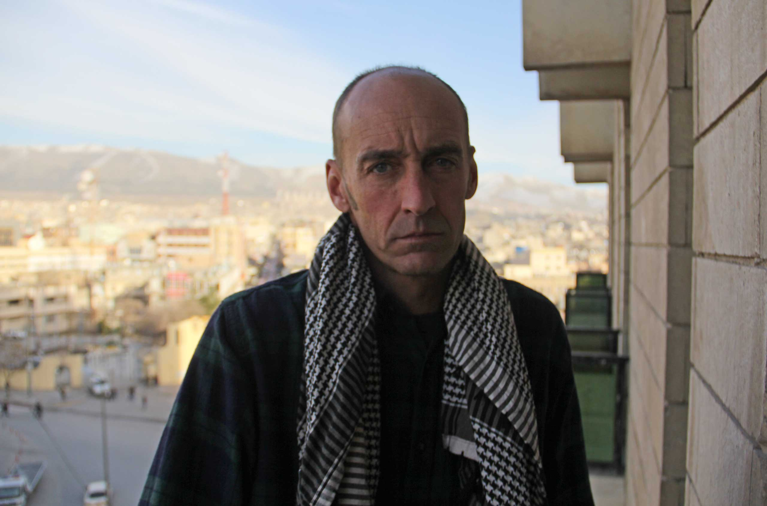 Dean Parker in the Iraqi Kurdish city of Sulaymaniah after spending weeks on the front lines with Kurdish fighters in Syria. Jan. 14, 2015.