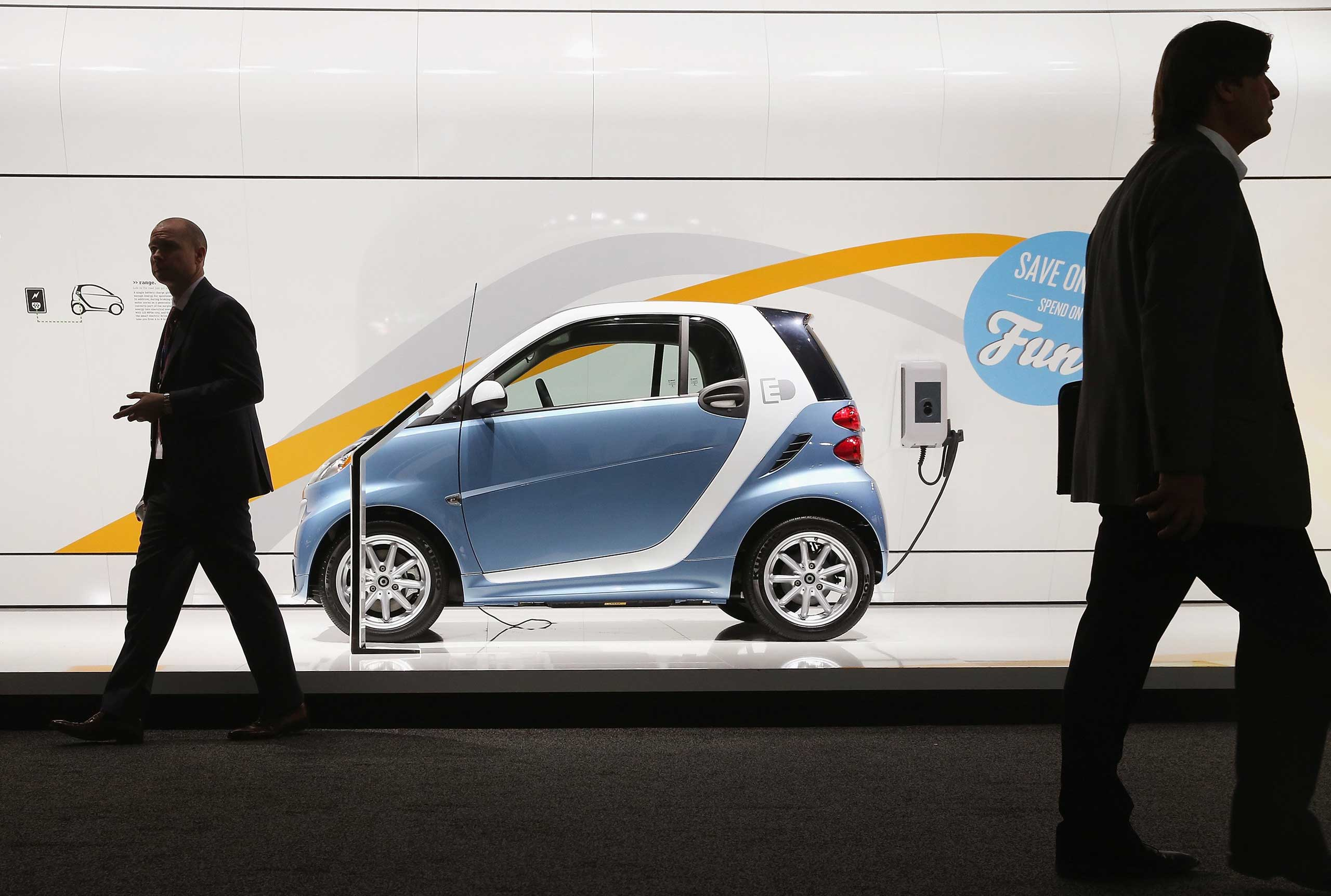 Smart shows off their Electric Drive Coupe during the media preview on Jan. 13, 2015 in Detroit.