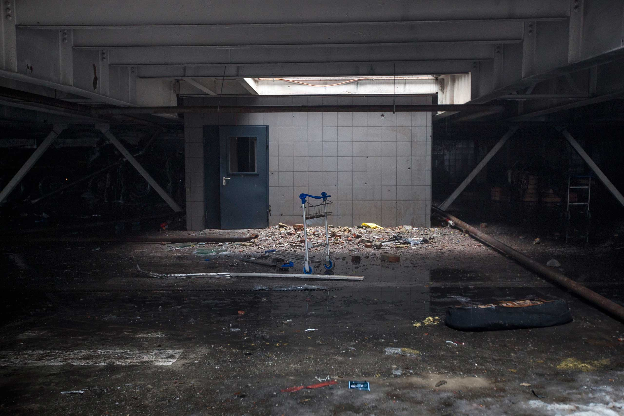 Inside the destroyed airport on Jan. 21, 2015.