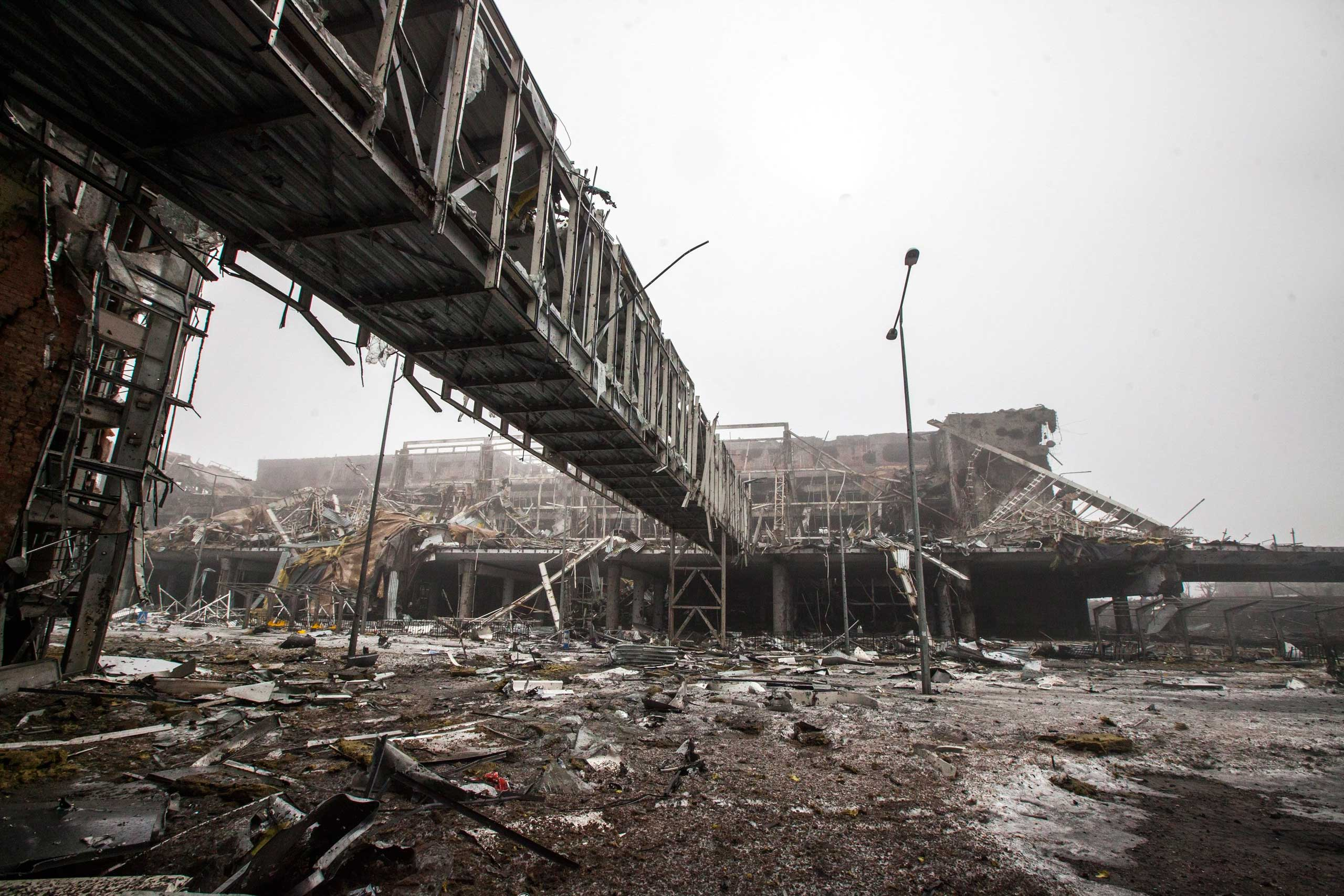 The destroyed airport on Jan. 21, 2015.